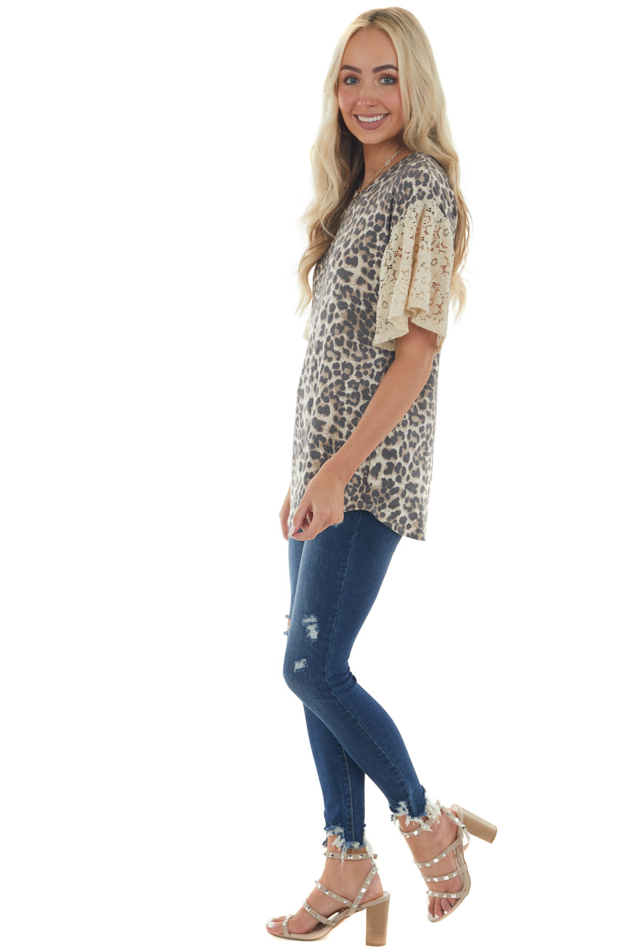 Latte Leopard Print Top with Short Floral Lace Bell Sleeves