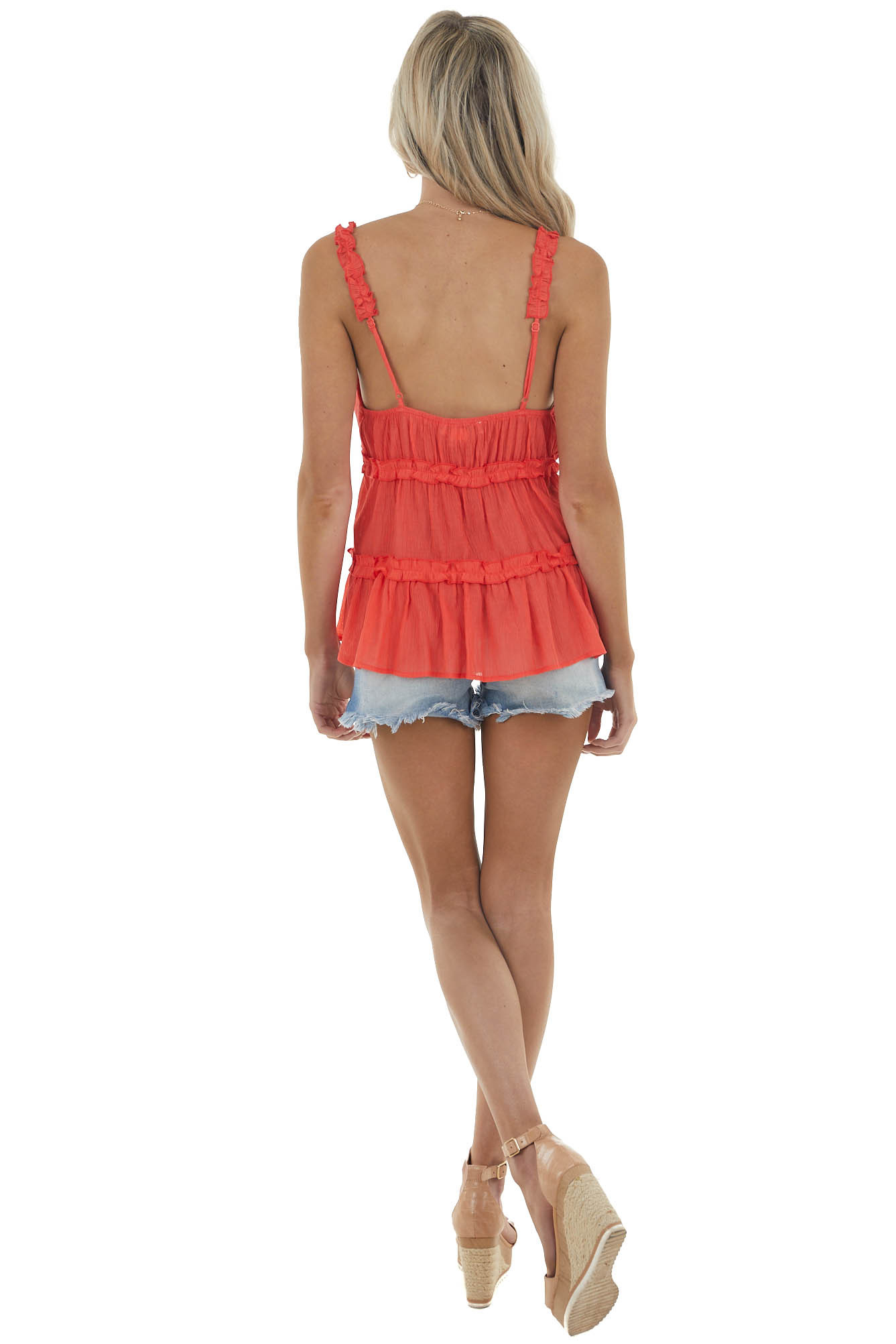 Coral Babydoll Sleeveless Blouse with Frill Details