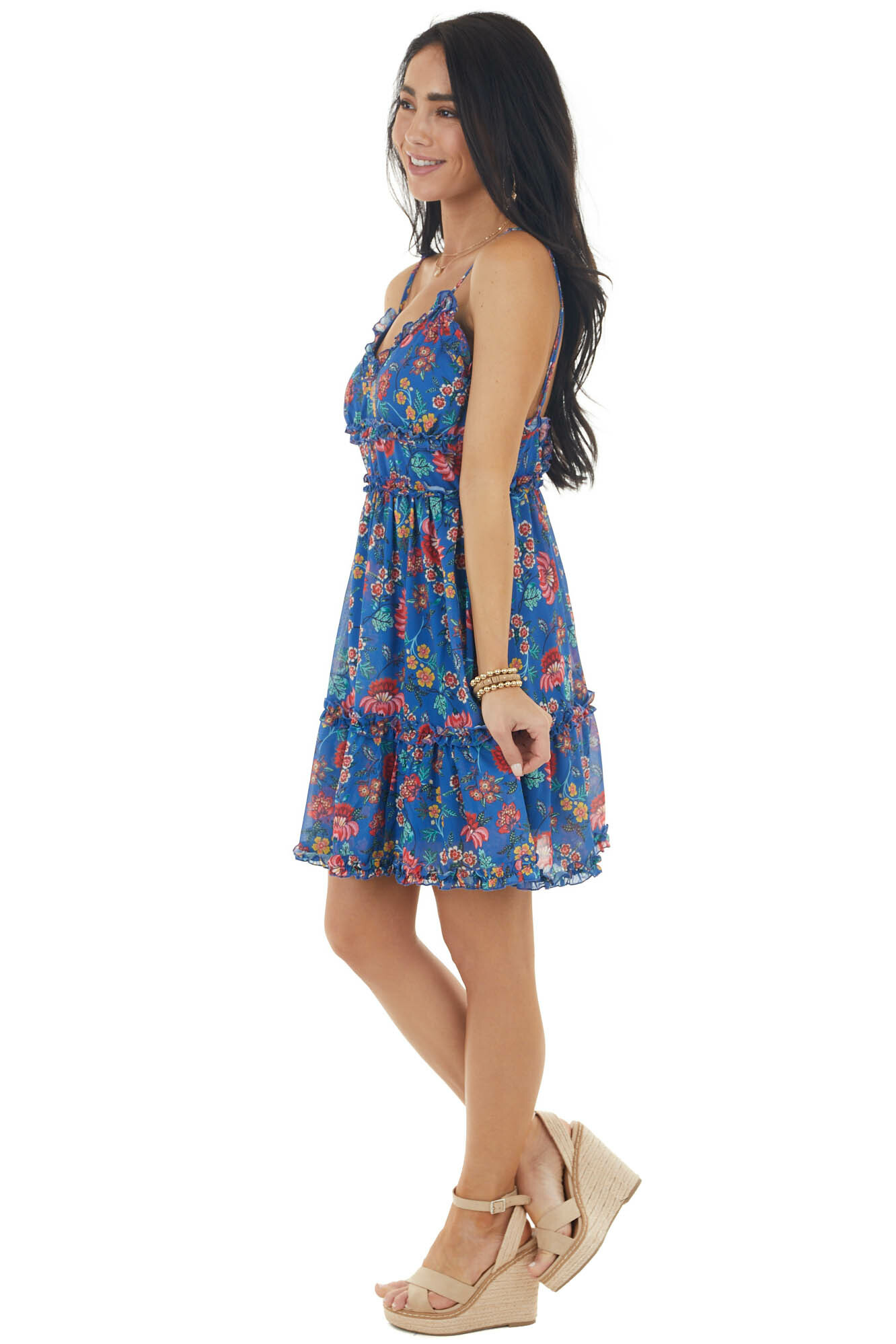 Royal Blue Floral Print Frilled Sleeveless Woven Short Dress