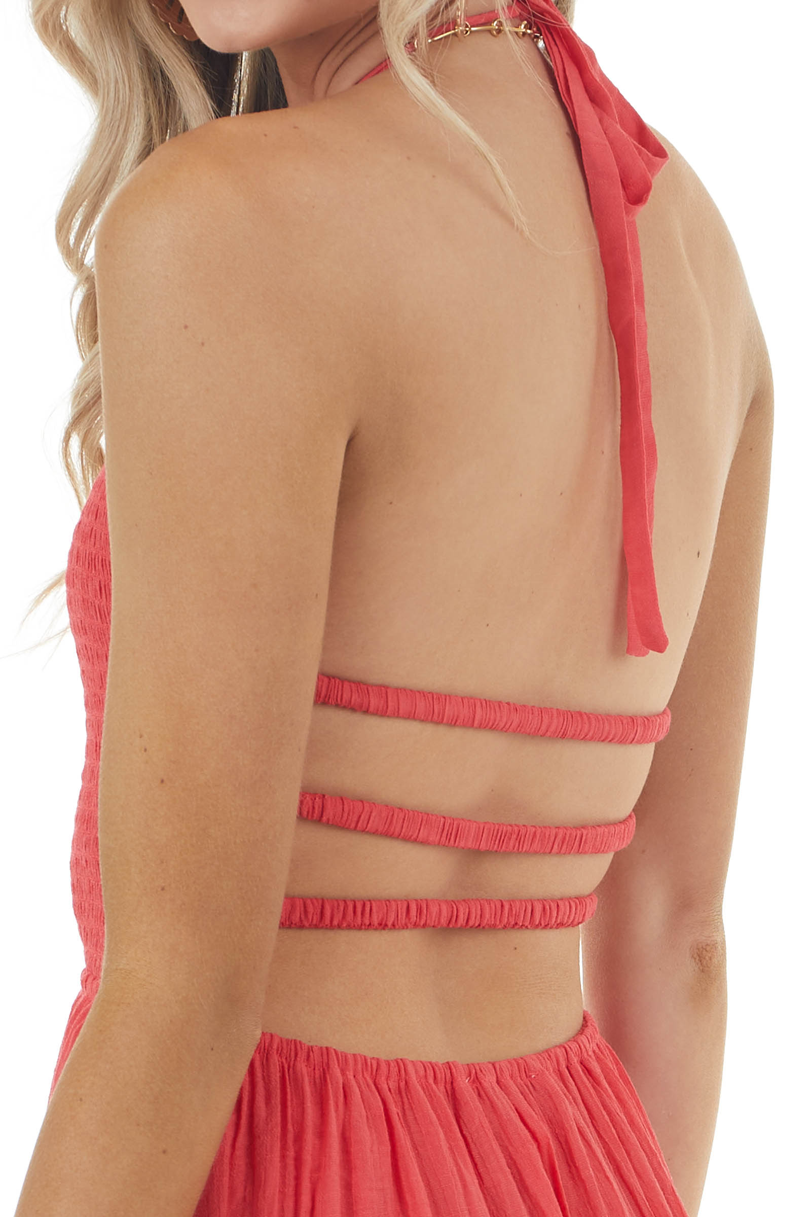 Punch Halter Neck Open Back Maxi Dress with Strappy Detail