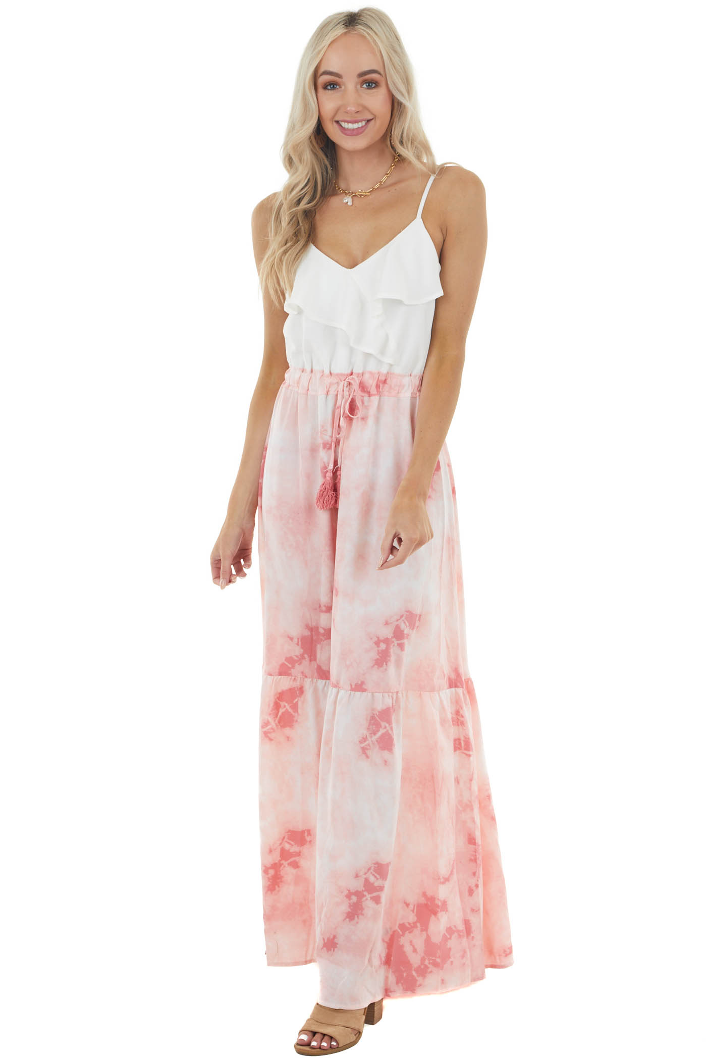 Dusty Blush Tie Dye Maxi Dress with Ruffle V Neck Detail