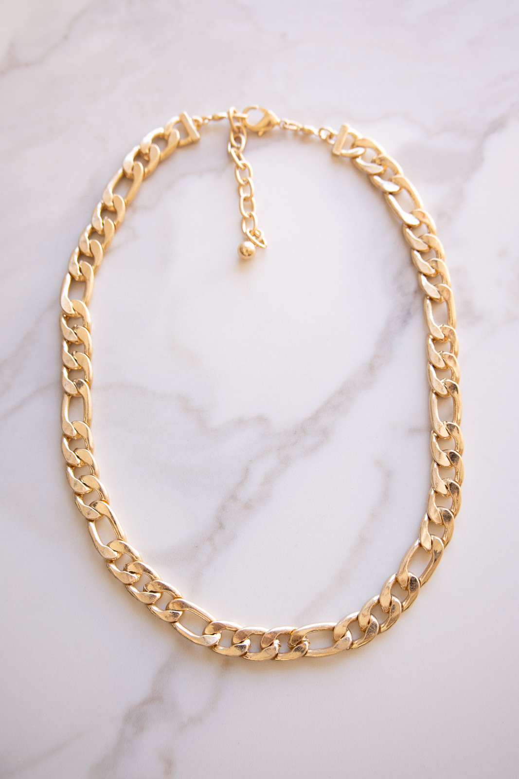 Brushed Gold Chain Necklace with Lobster Clasp Closure