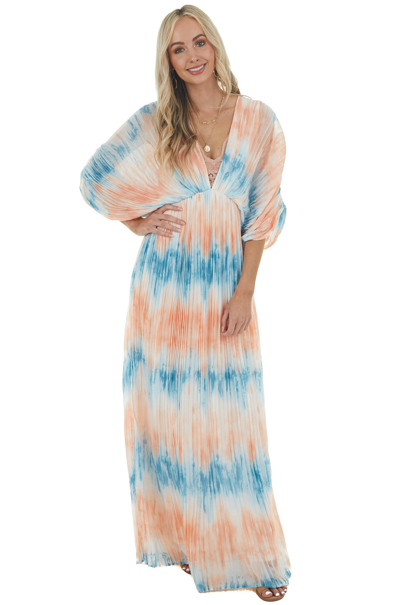 Cobalt and Salmon Tie Dye Pleated Woven Maxi Dress