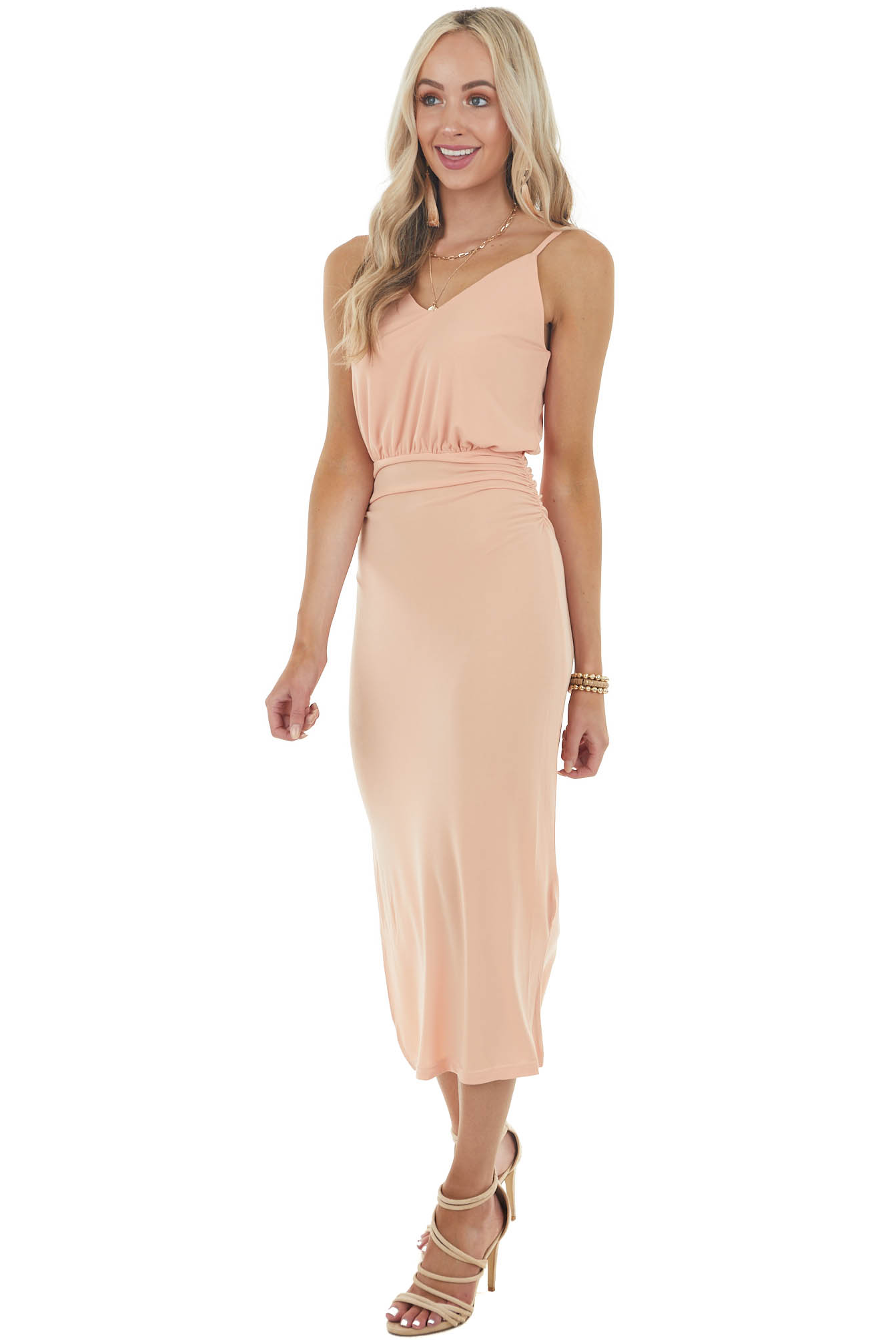 Peach Sleeveless Midi Dress with V Neck and Ruching Detail