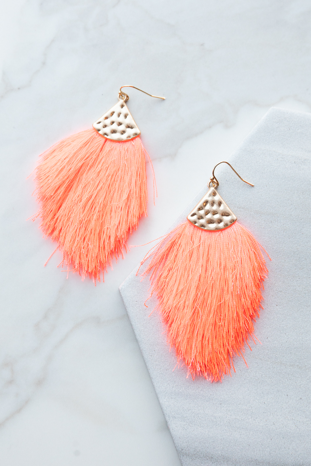 Neon Pink Tassel Dangle Earrings with Gold Hammered Metal