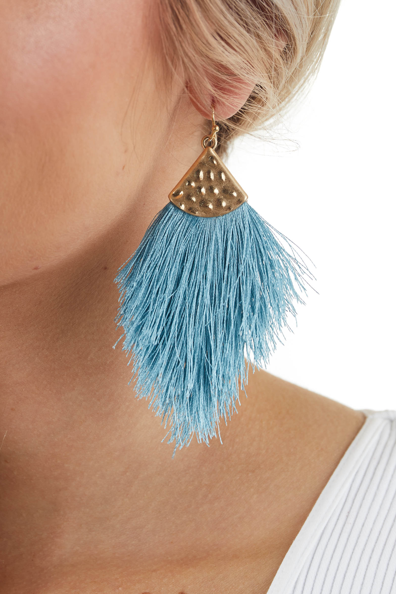 Ocean Blue Tassel Dangle Earrings with Gold Hammered Metal