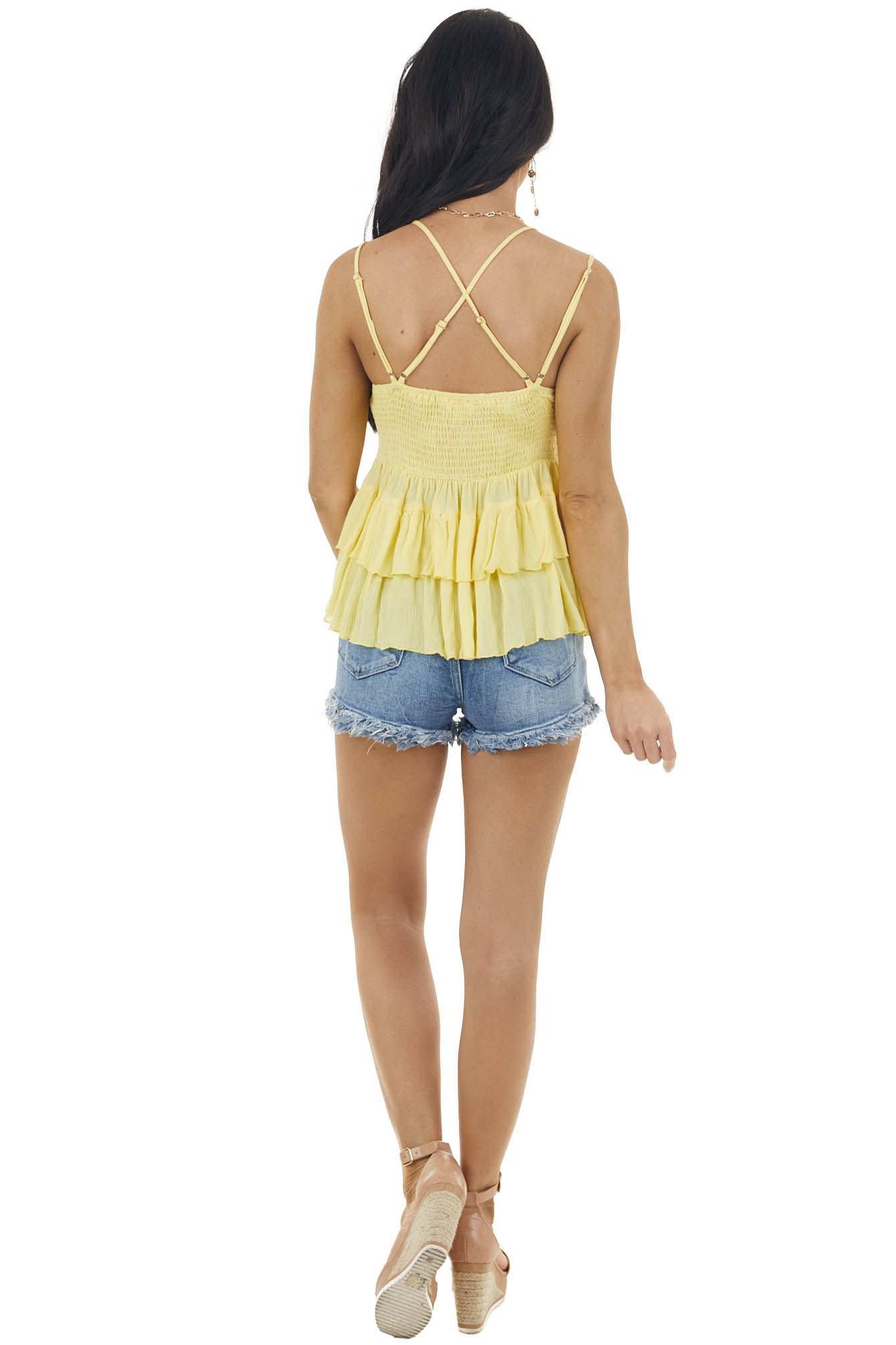 Pastel Lemon Sleeveless Tiered Blouse with Lace Detail