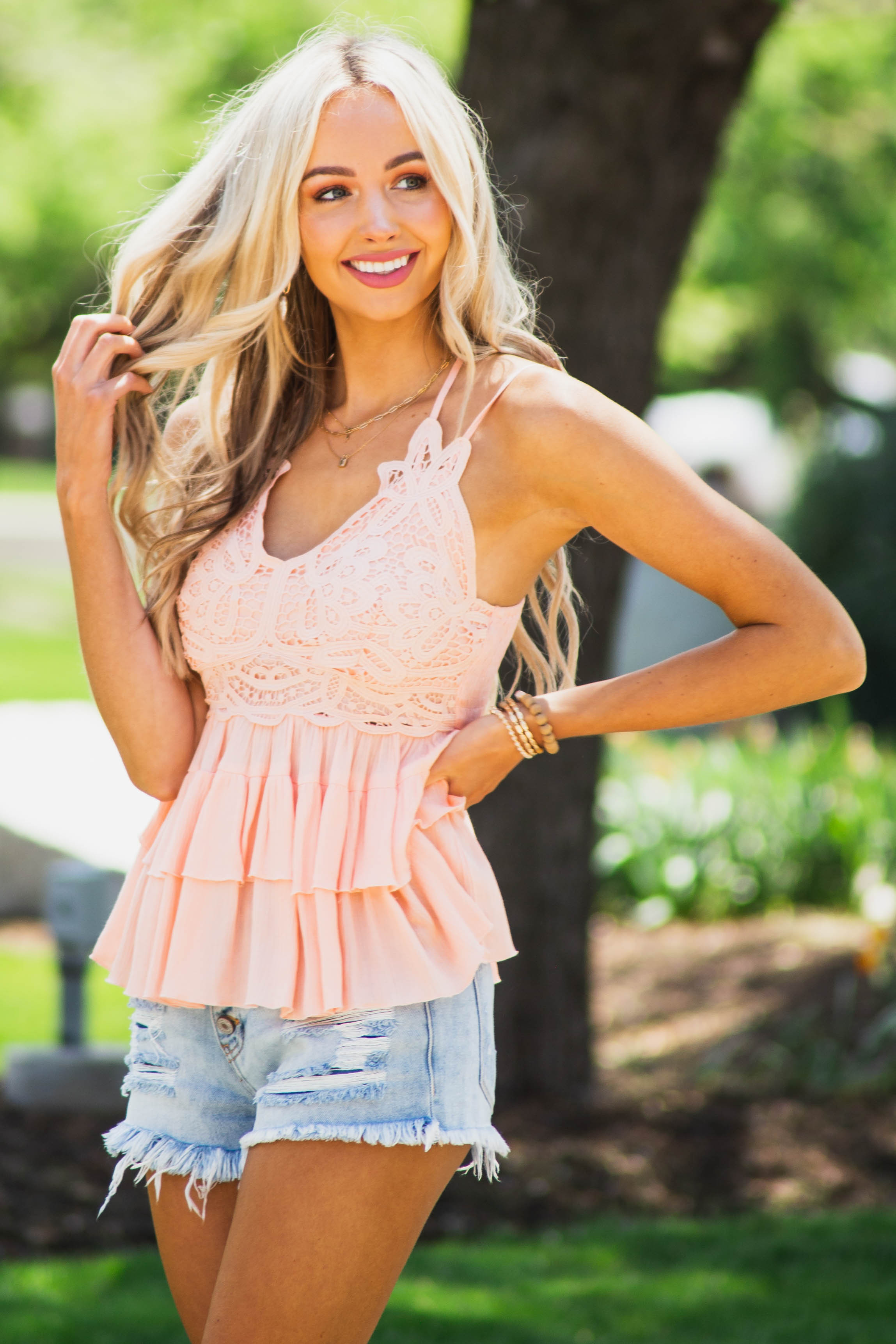 Dusty Blush Sleeveless Tiered Blouse with Lace Detail