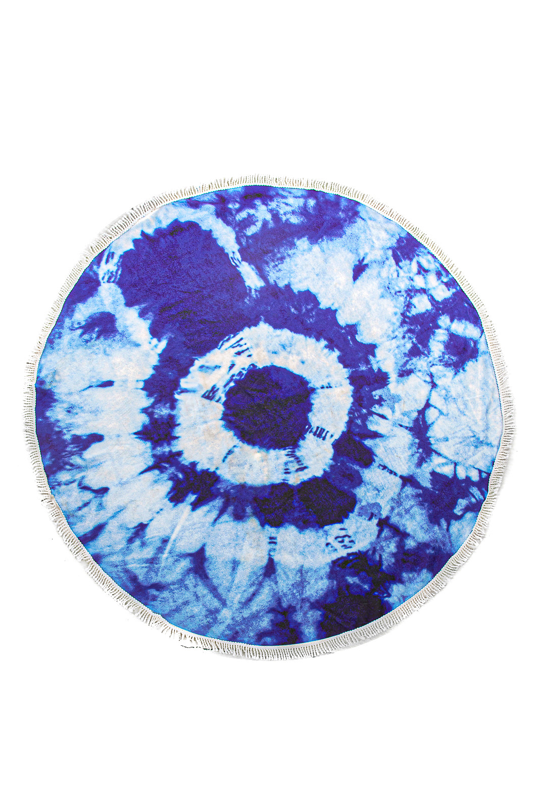 Indigo Tie Dye Rounded Beach Towel with Tassel Details