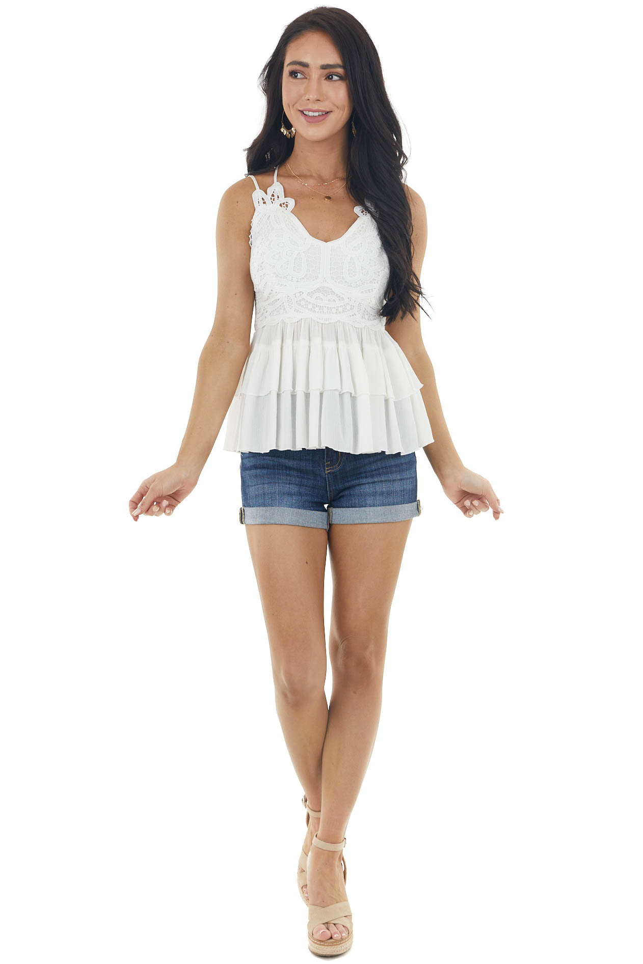 Pearl White Sleeveless Tiered Blouse with Lace Detail