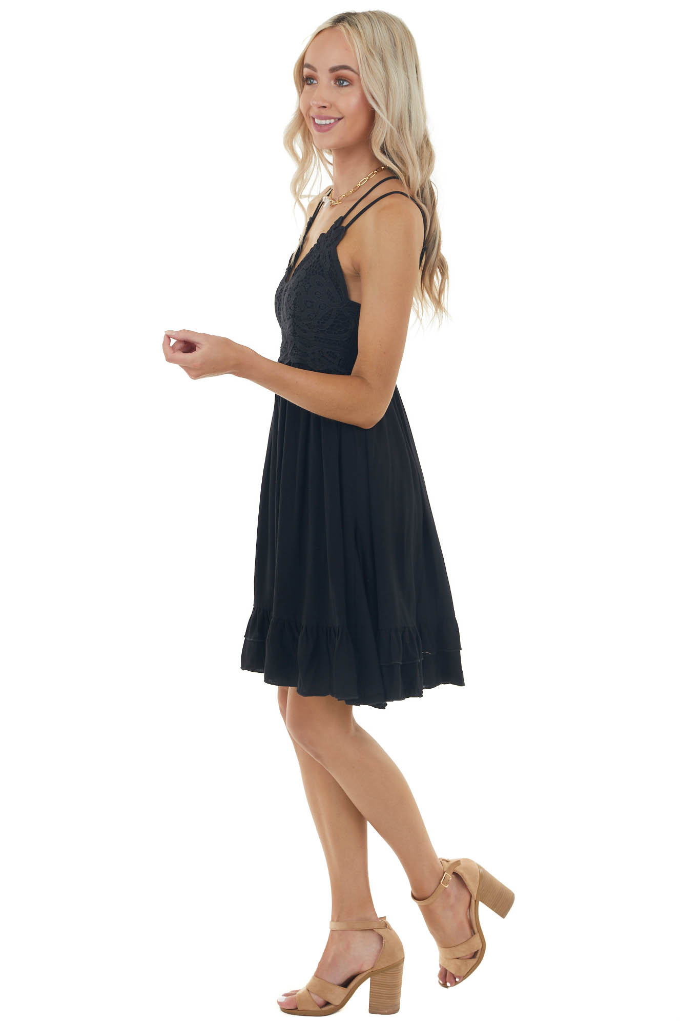 Black Sleeveless Woven Short Dress with Lace Detail