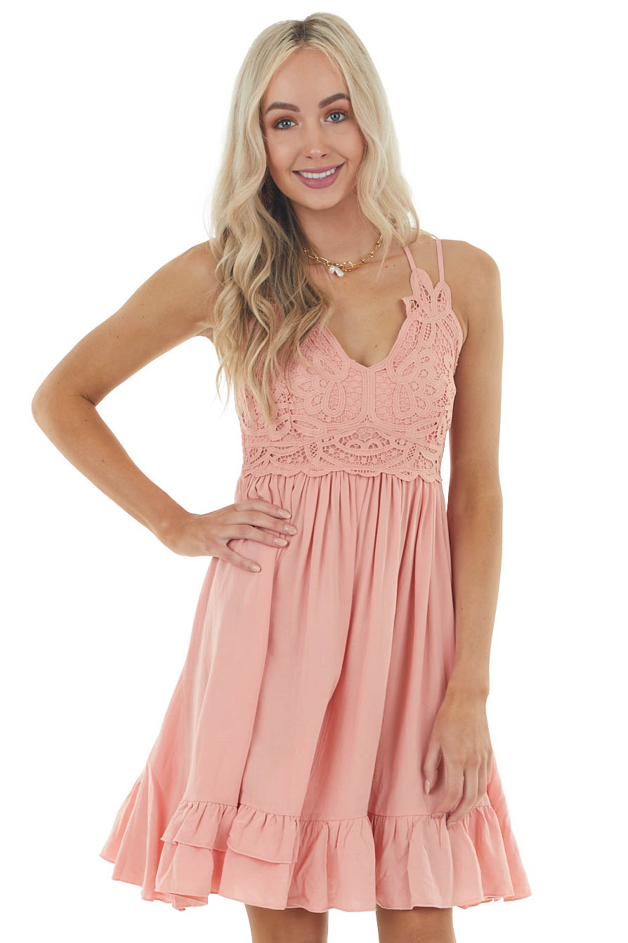 Light Coral Sleeveless Woven Short Dress with Lace Detail