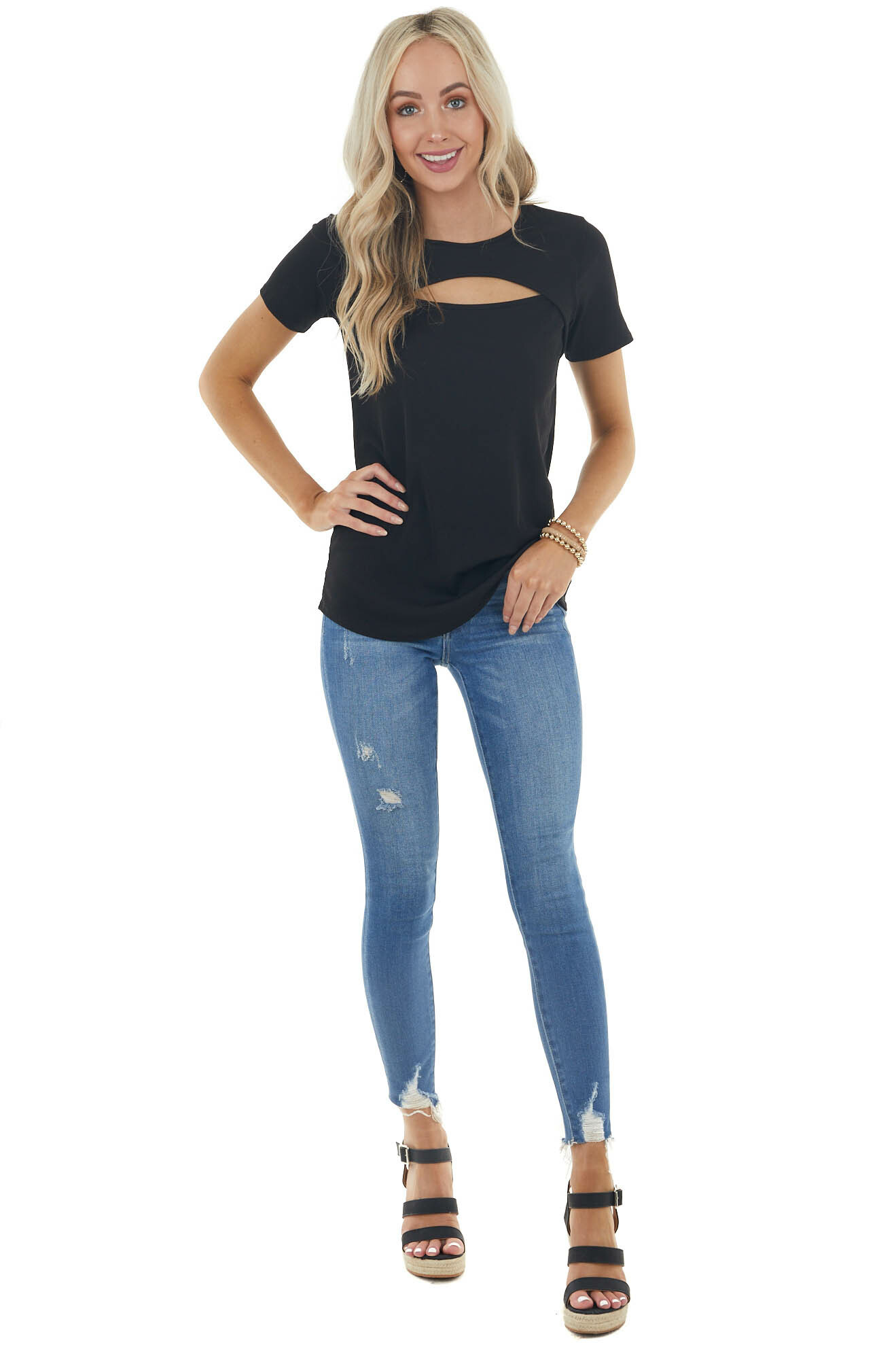 Black Ribbed Knit Short Sleeve Top with Chest Cutout