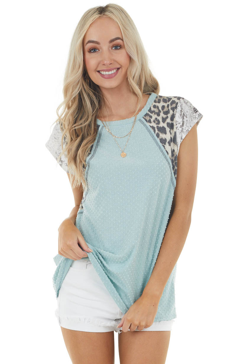 Faded Sage Swiss Dot Knit Top with Multiprint Short Sleeves
