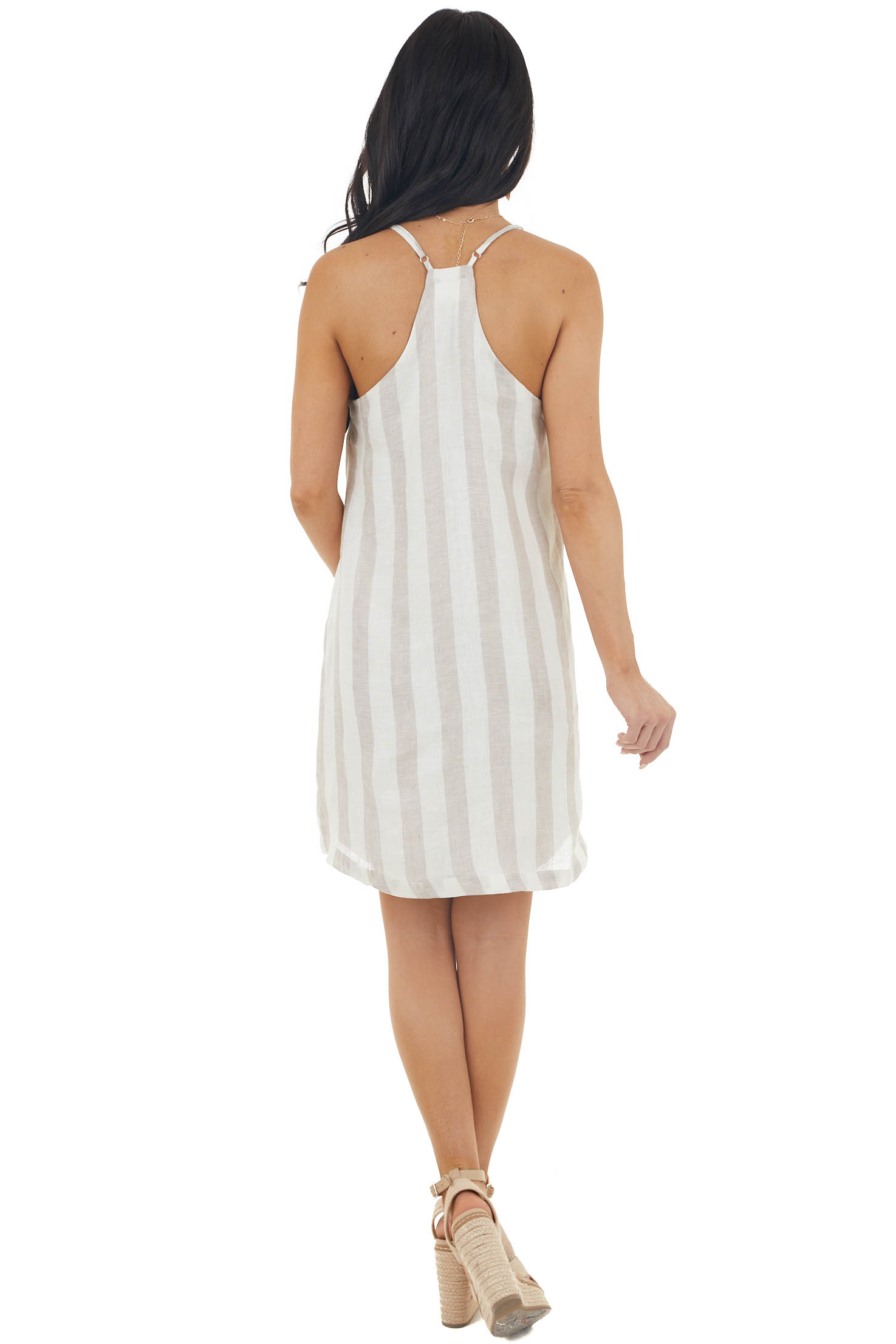 Latte and Ivory Striped Sleeveless Shift Dress with Pockets
