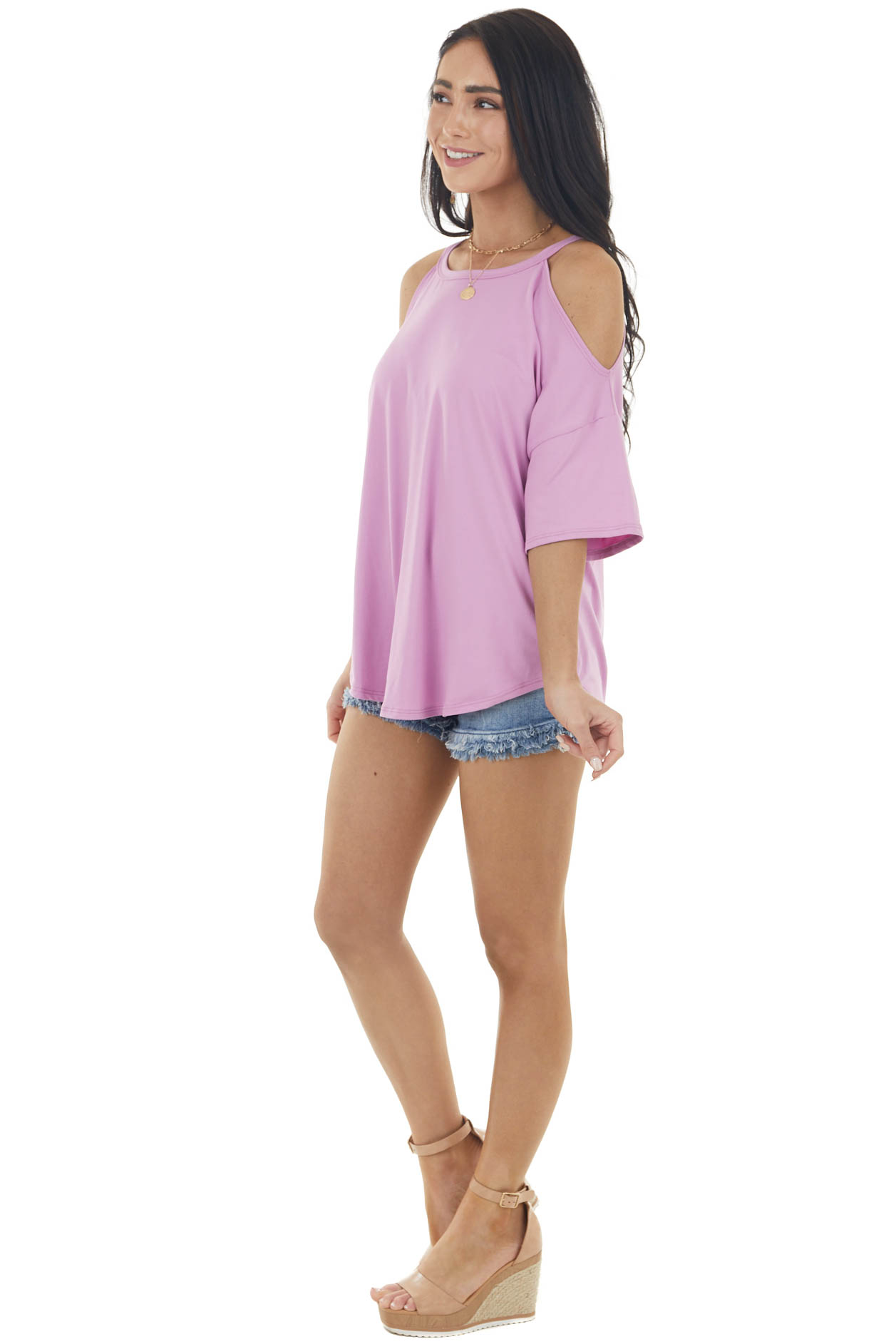Lilac Short Sleeve Super Soft Knit Top with Cold Shoulder