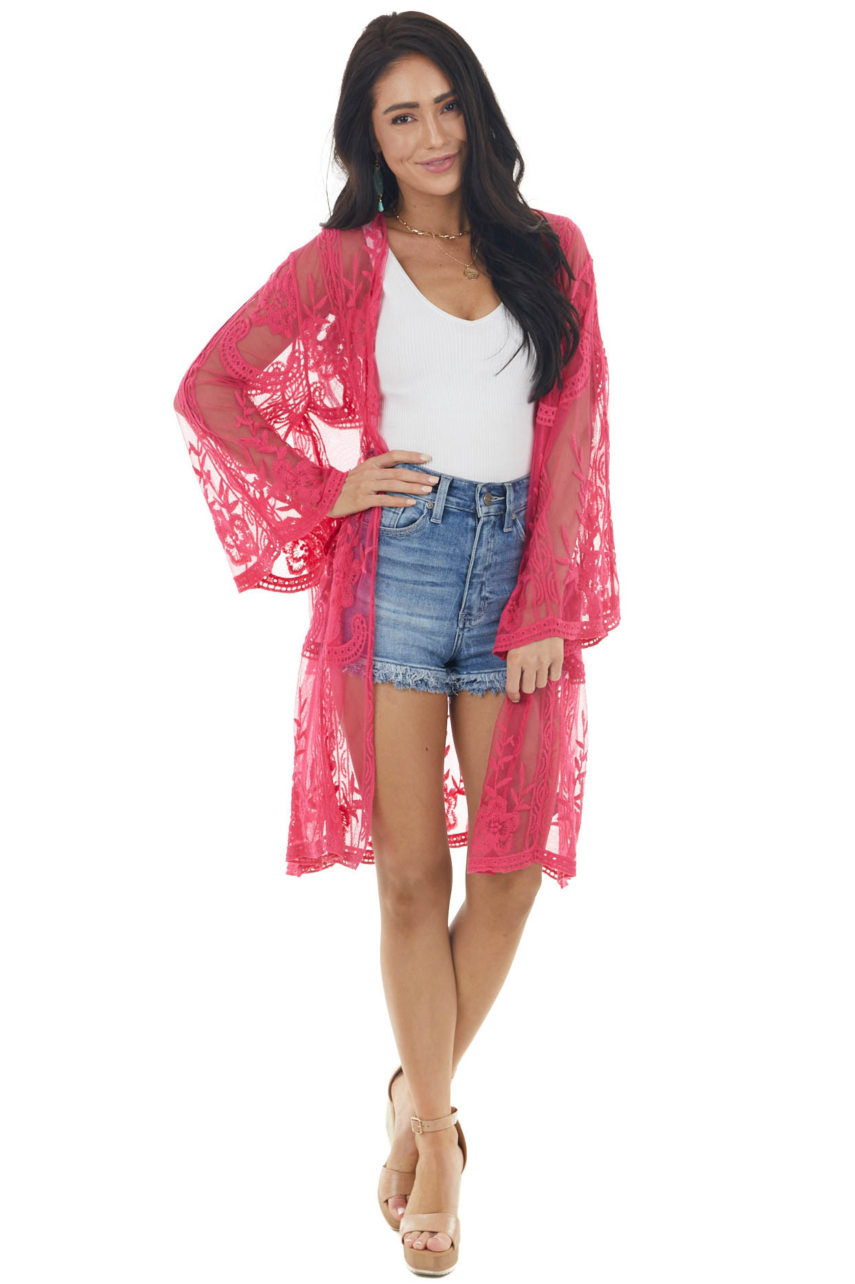 Hot Pink Floral Lace Open Front Kimono with 3/4 Sleeves