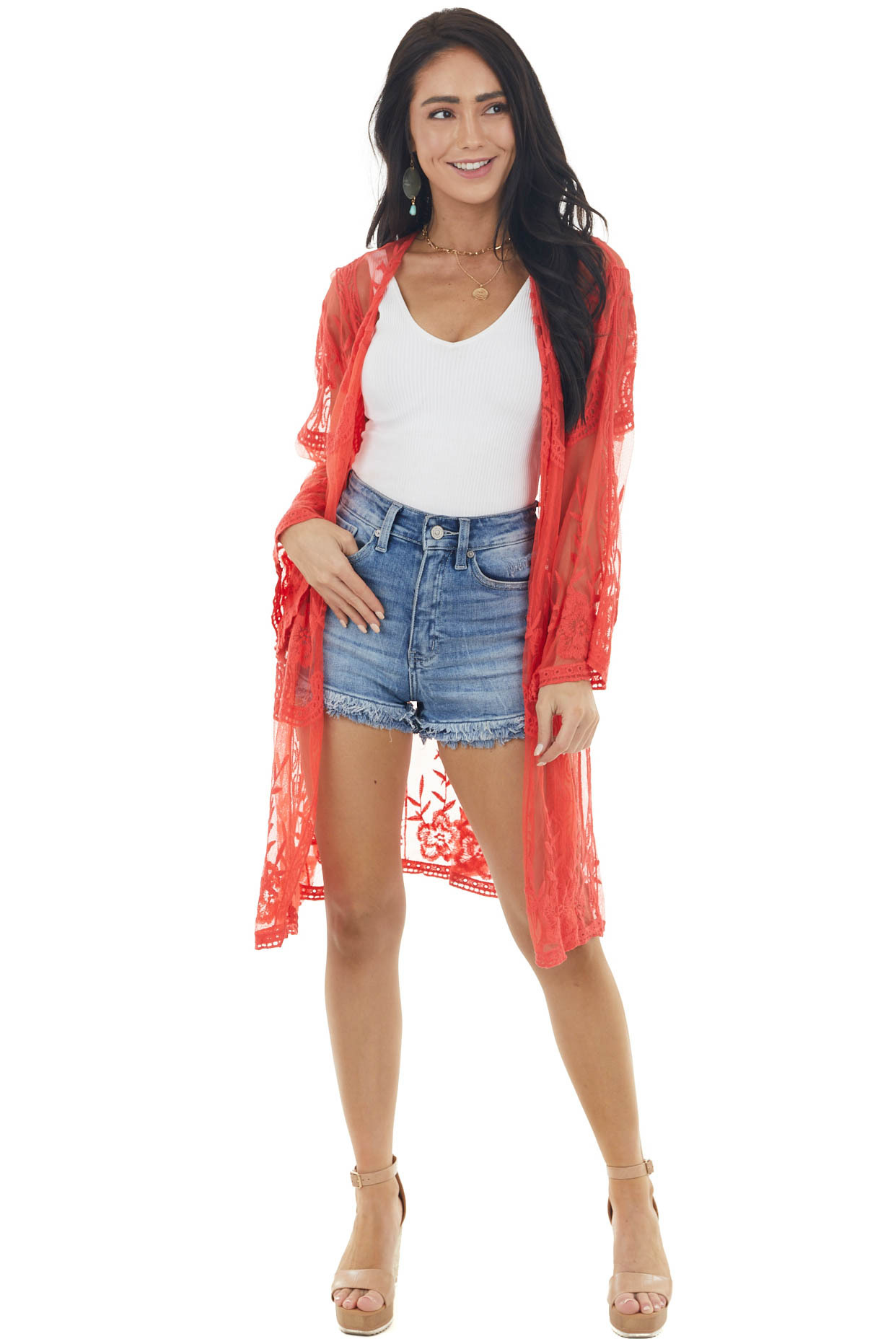 Deep Coral Floral Lace Open Front Kimono with 3/4 Sleeves