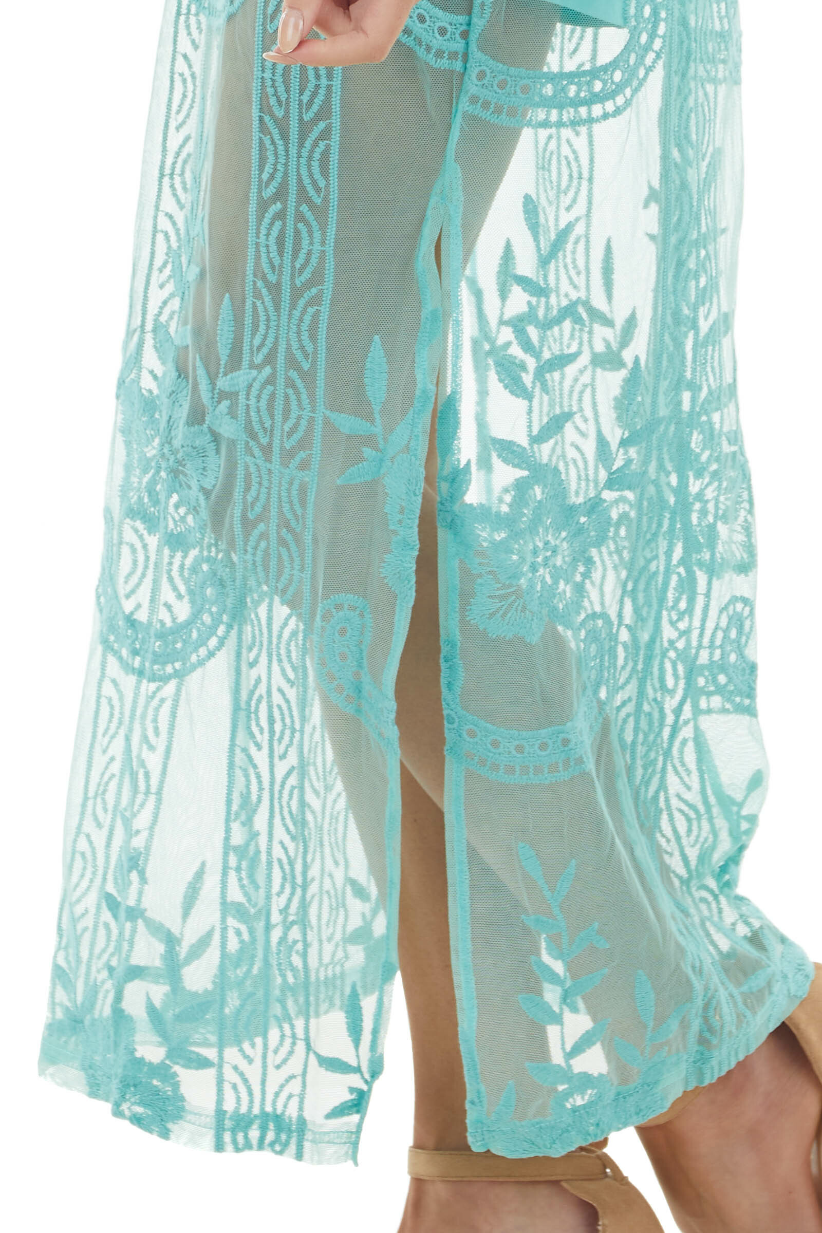 Turquoise Short Sleeve Romper with Floral Lace Maxi Overlay