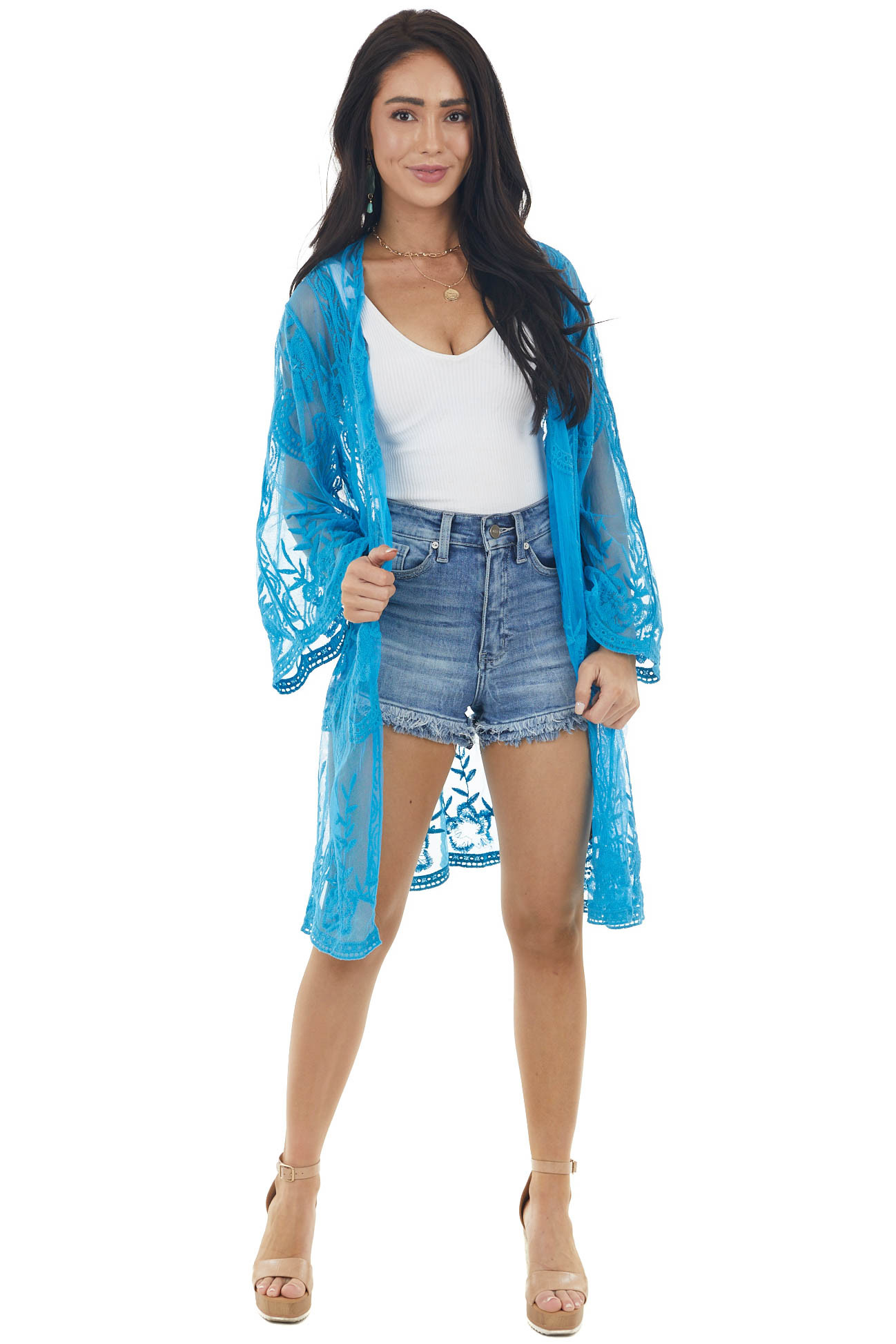 Cobalt Blue Floral Lace Open Front Kimono with 3/4 Sleeves