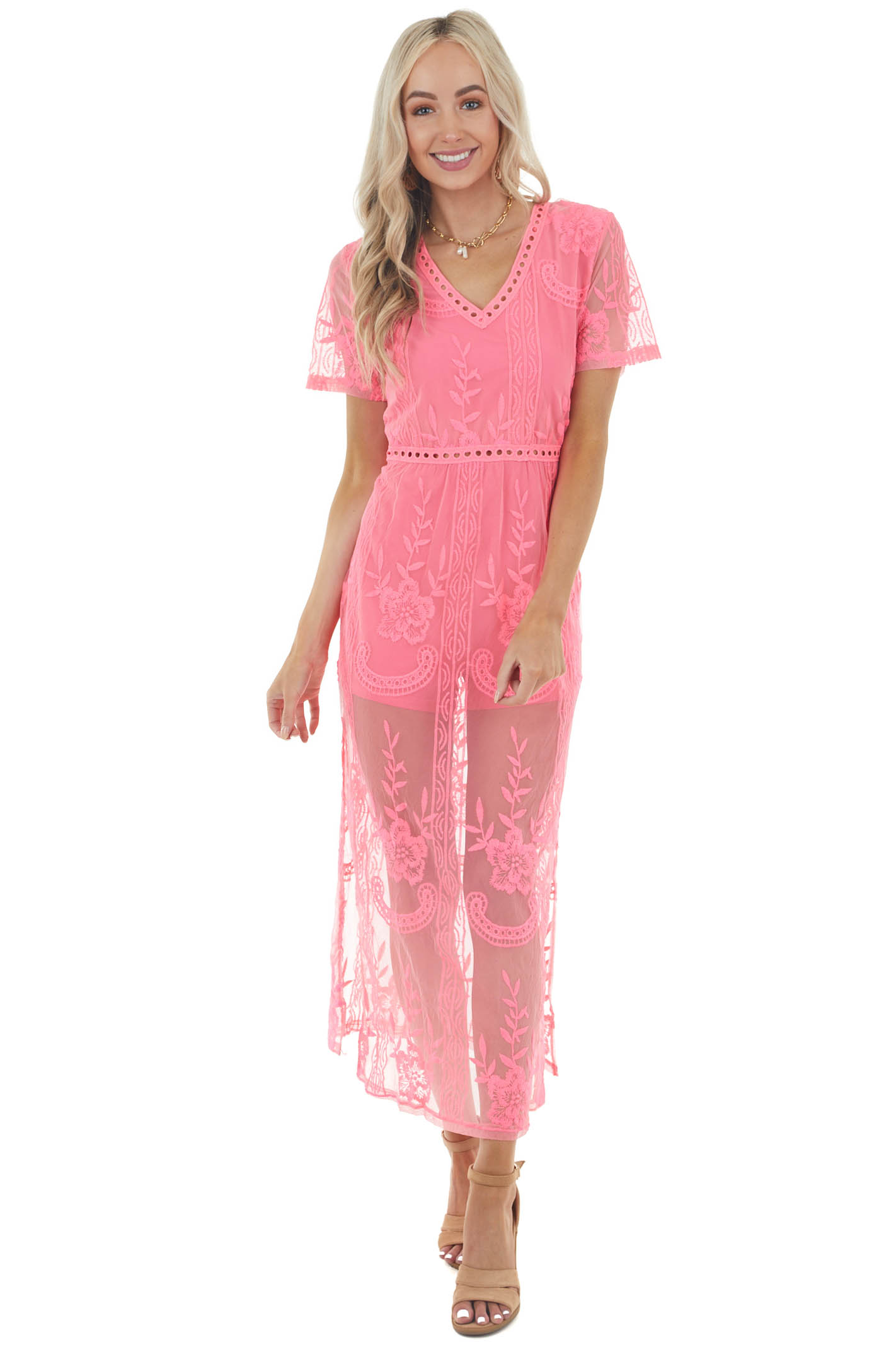 Neon Pink Short Sleeve Romper with Floral Lace Maxi Overlay