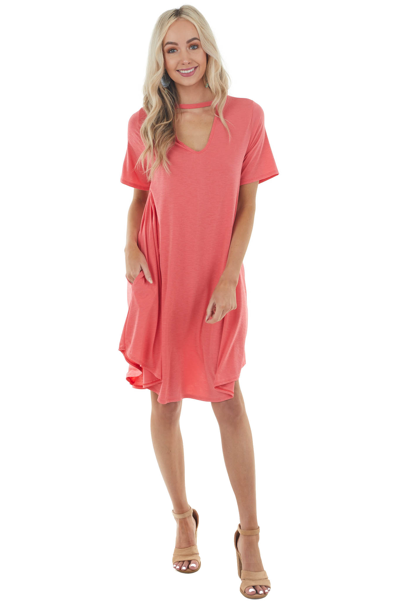 Heathered Coral Short Sleeve Knit Dress with Chest Cut Out