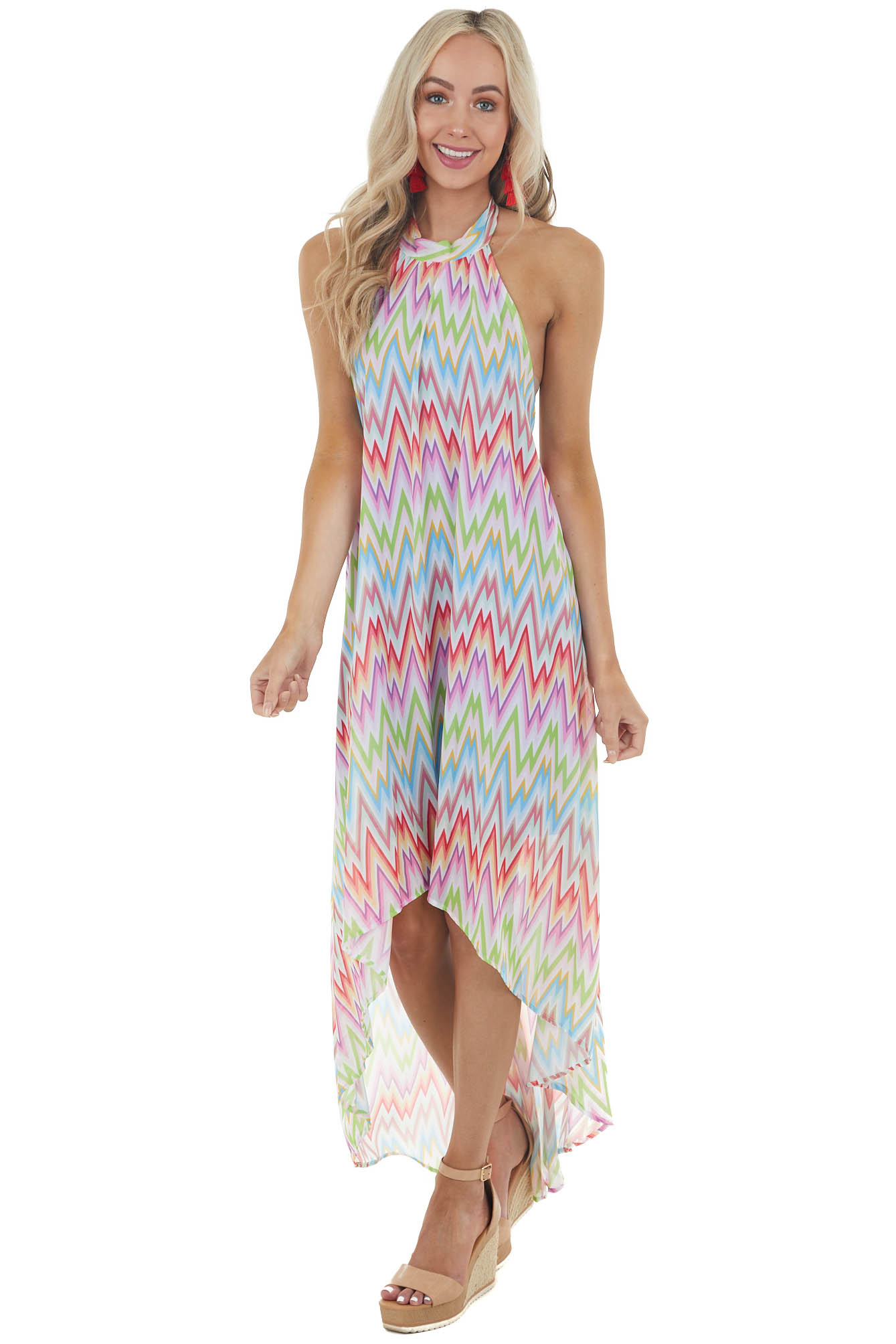 Rainbow Chevron Open Back High Low Halter Tie Neck Dress