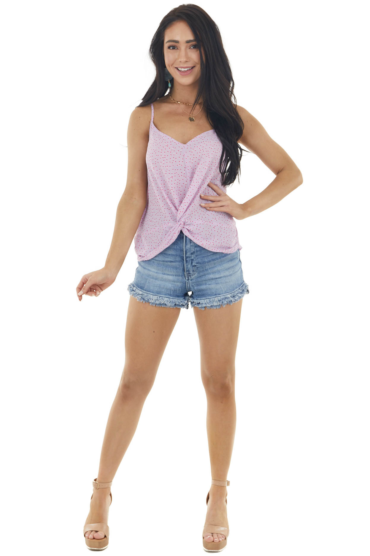 Lavender Spotted Sleeveless Top with Front Knot Detail