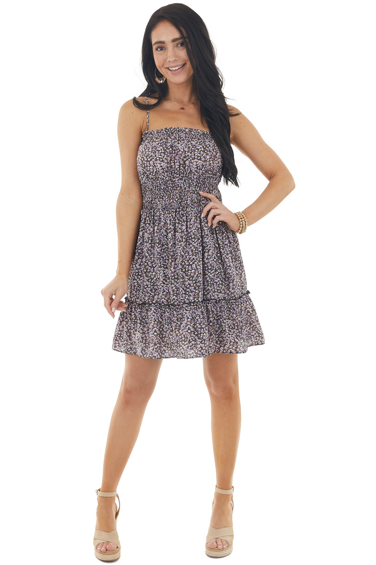 Black Ditsy Floral Sleeveless Woven Dress with Smocked Waist