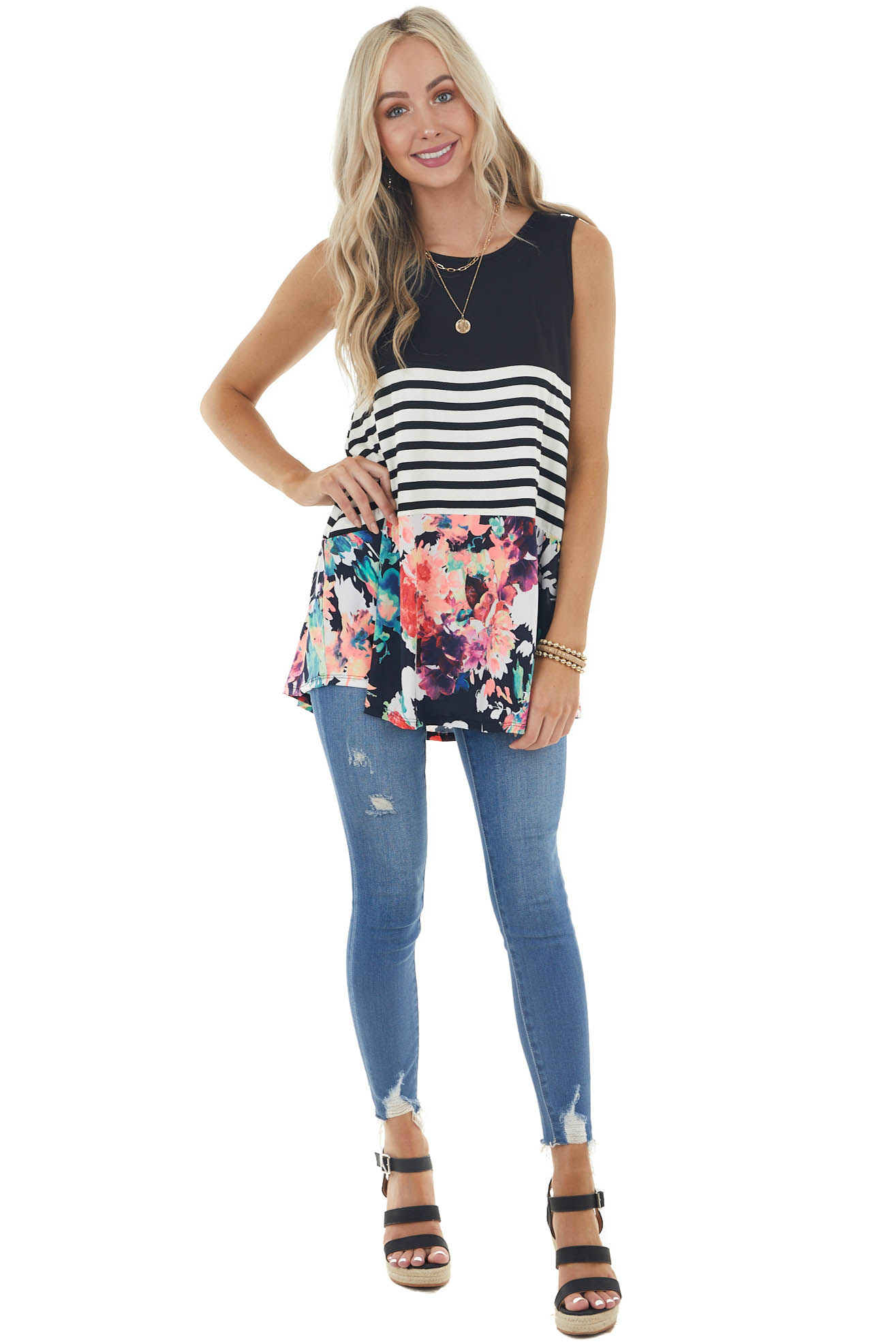 Black Floral and Stripe Colorblock Knit Tunic Tank Top