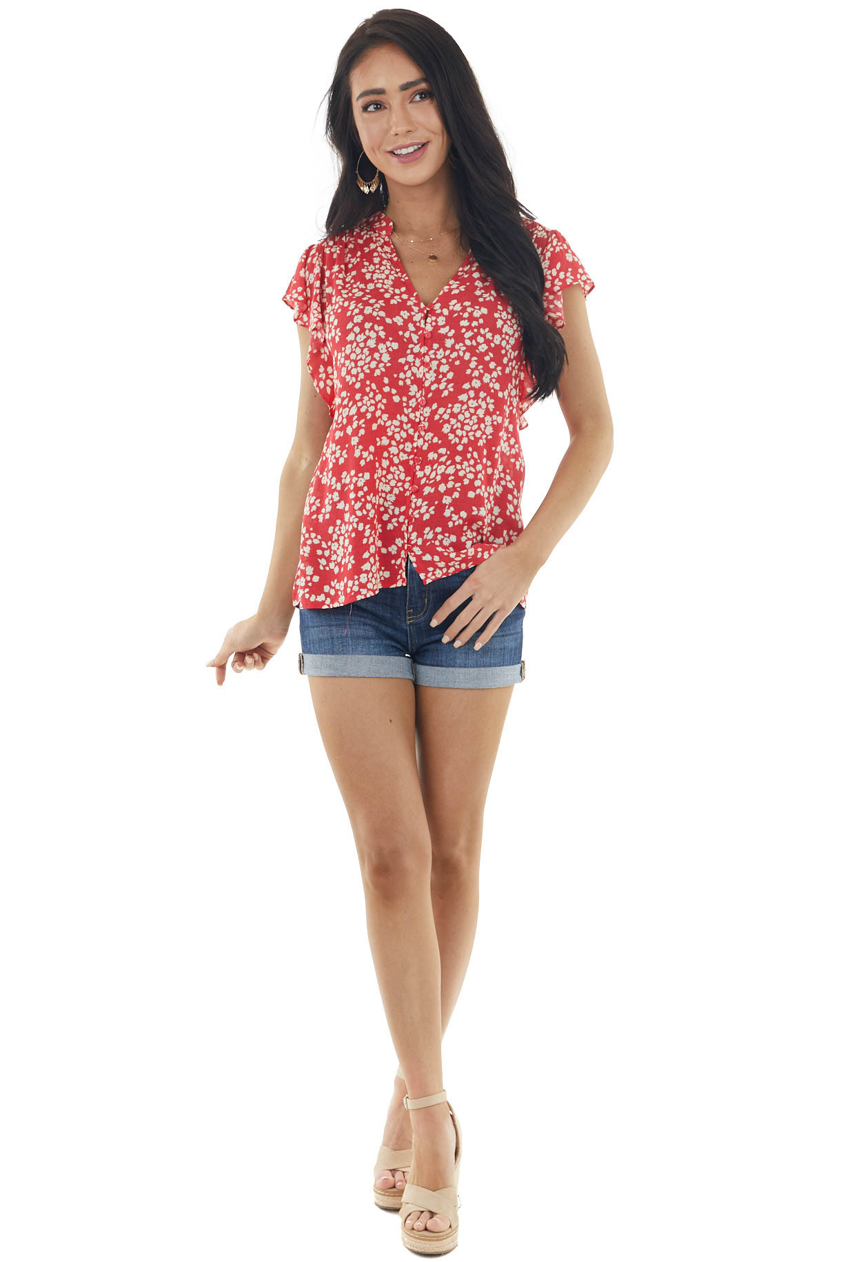 Ruby Red Floral Print Button Up Blouse with Flutter Sleeves