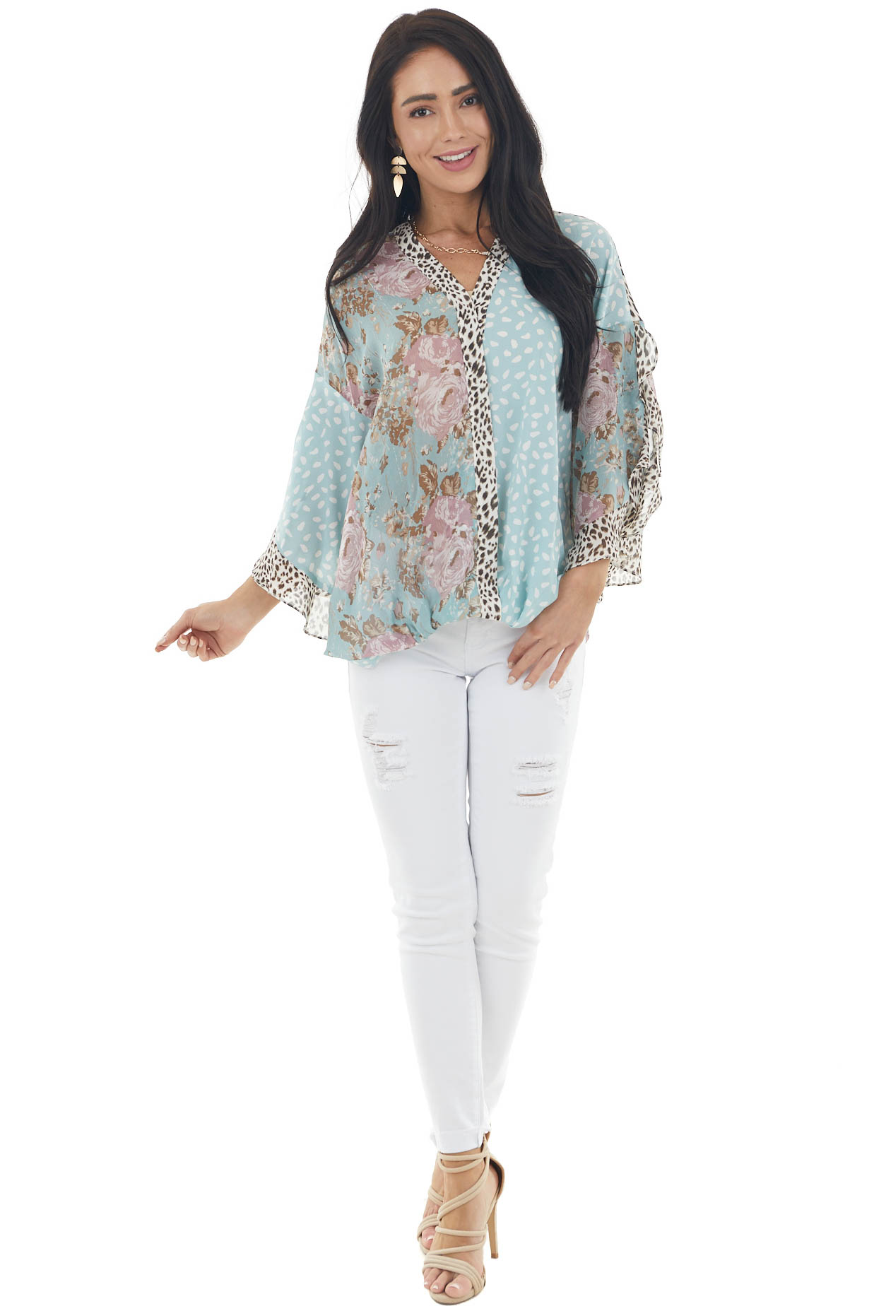 Dusty Teal Multiprint Woven Blouse with Open Flare Sleeves