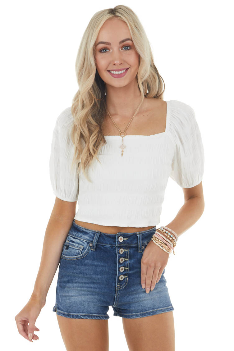 Off White Textured Woven Crop Top with Short Puff Sleeve