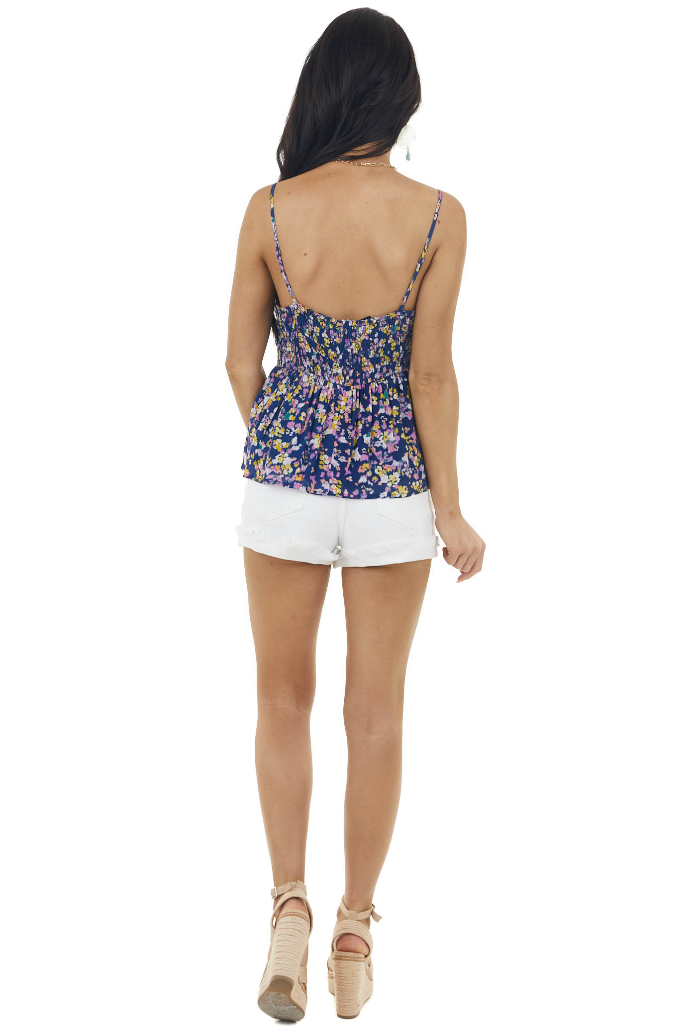 Rich Navy Blue Floral Woven Tank Top with Button Details
