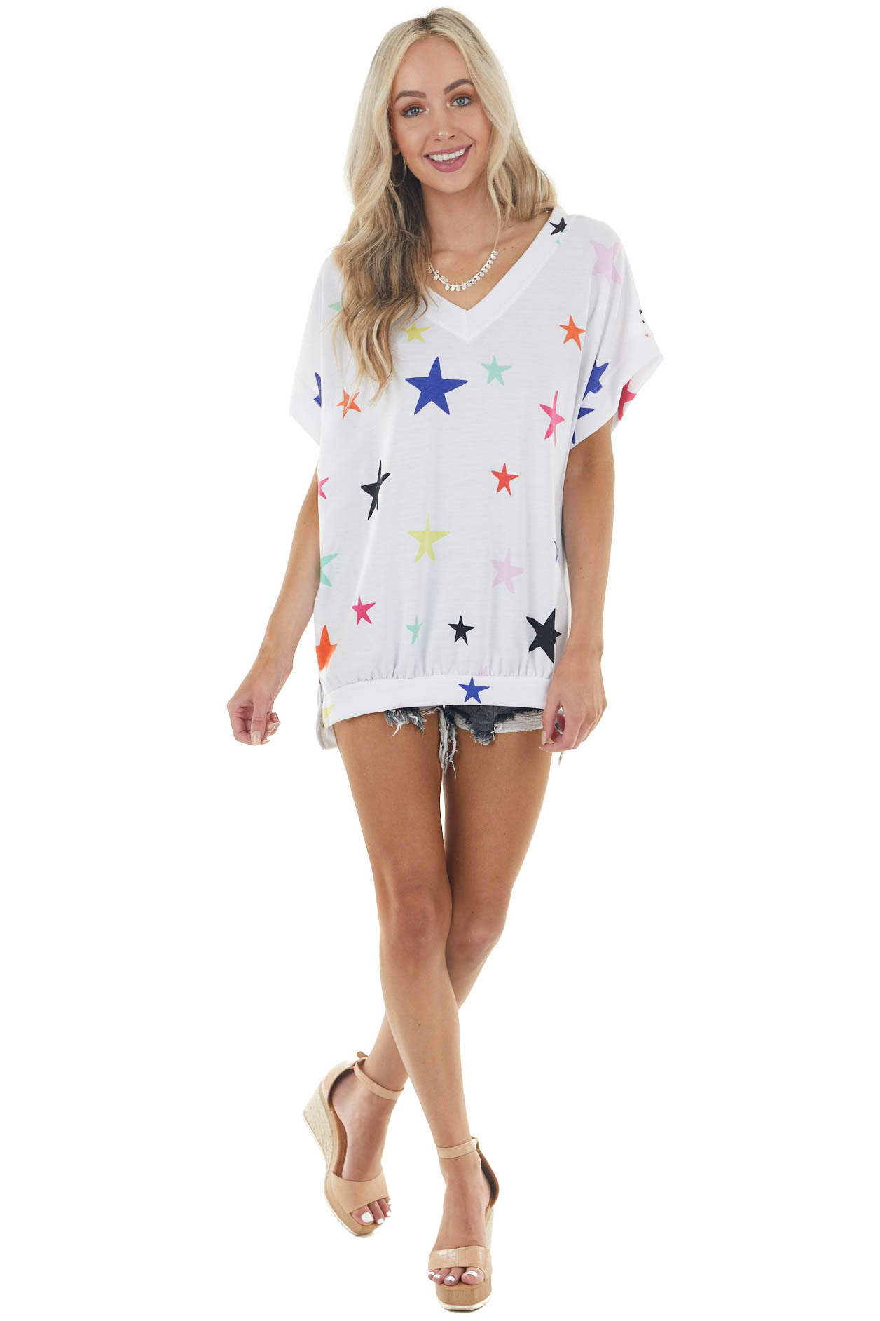 White Multicolor Star Print Short Sleeve Banded Knit Top