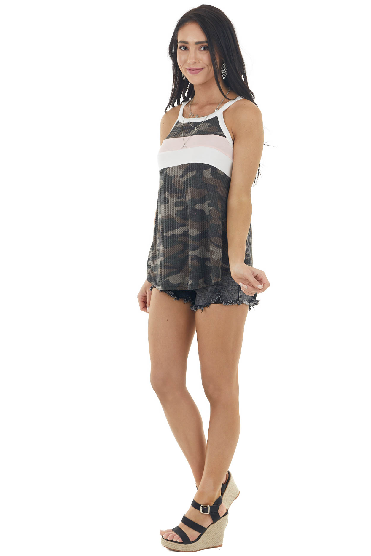 Dark Forest Green Camo and Colorblock Waffle Knit Halter Top