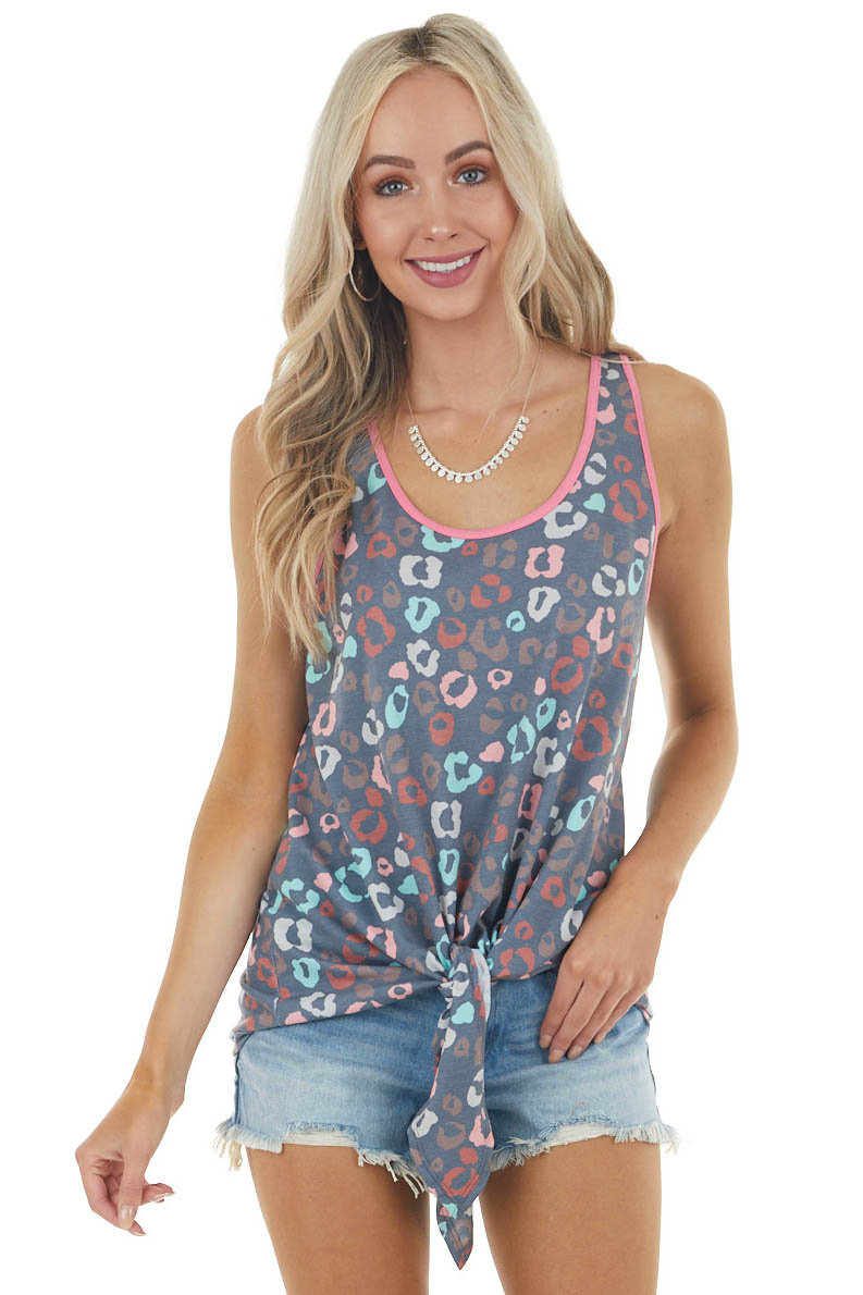Graphite Multicolor Leopard Print Knit Tank Top with Tie