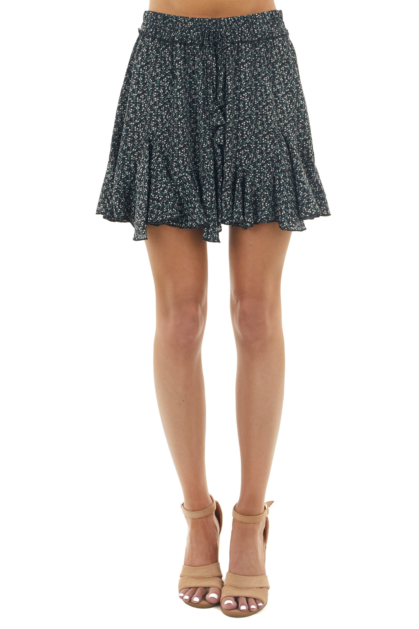 Black Ditsy Floral Flounce Hem Mini Skirt with Front Tie