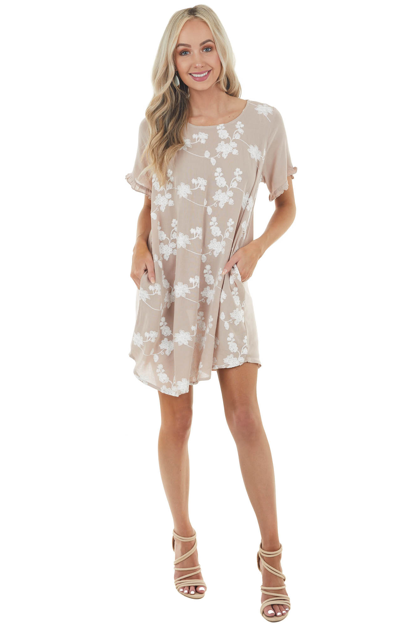 Latte Floral Lace Short Sleeve Shift Dress with Back Cut Out