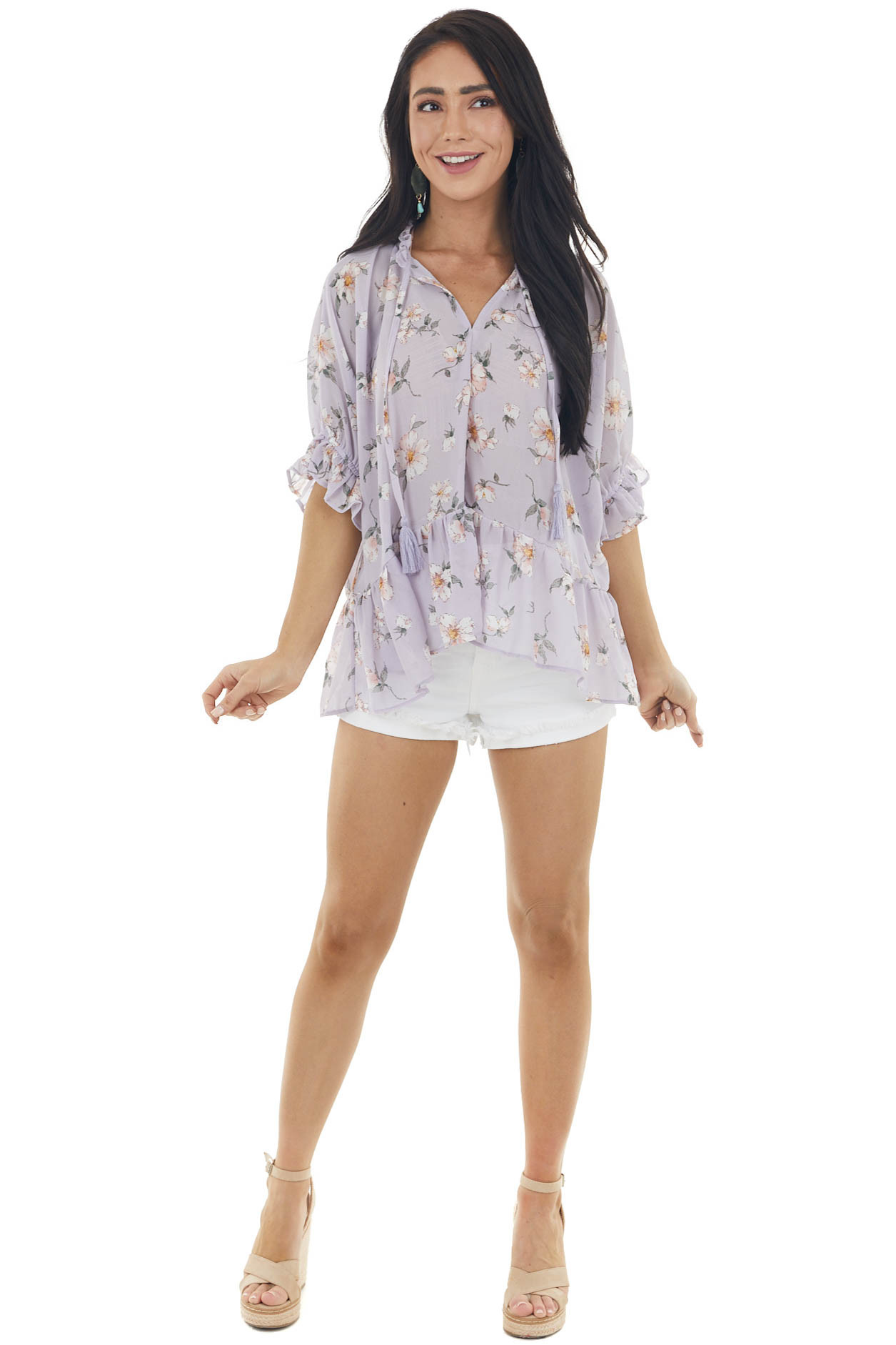 Lavender Floral Print Drop Waist Ruffle Blouse with Tassels