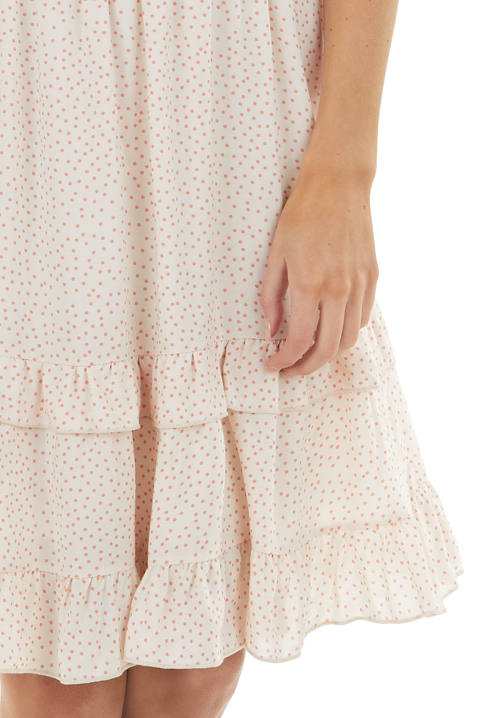 Peach Polka Dot Sleeveless Short Dress with Ruffle Details