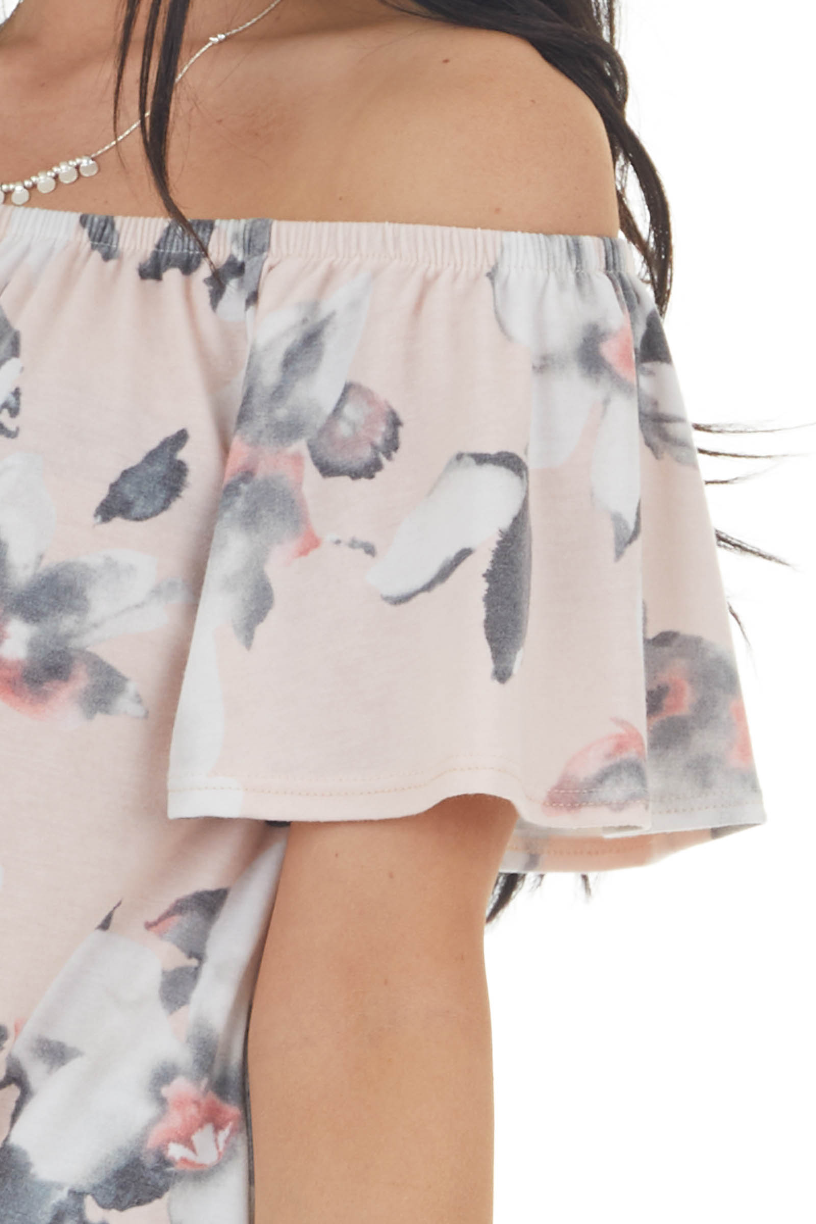 Dusty Blush Floral Off Shoulder Top with Front Tie Detail