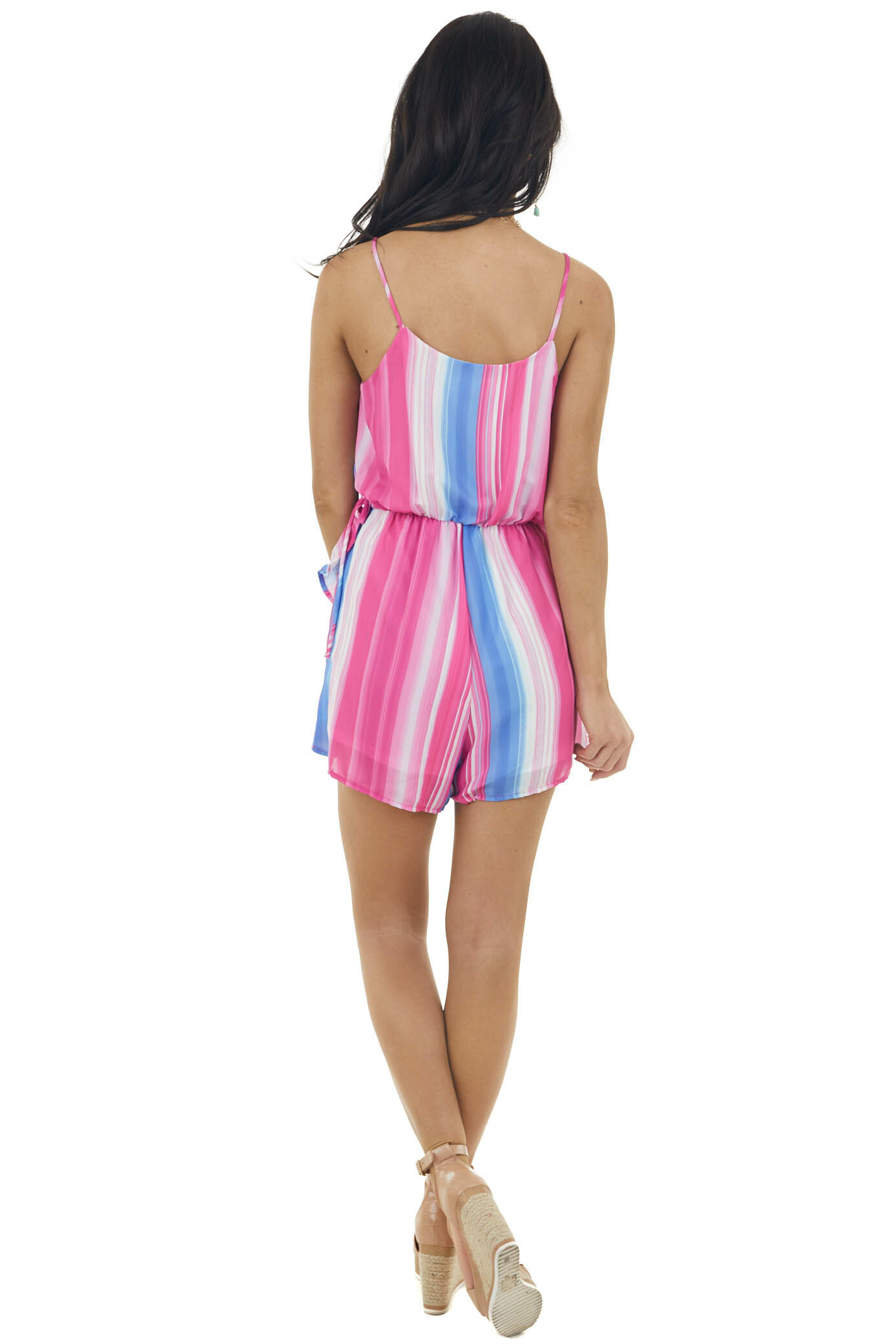 Light Fuchsia Striped Faux Wrap Romper with Ruffle Detail