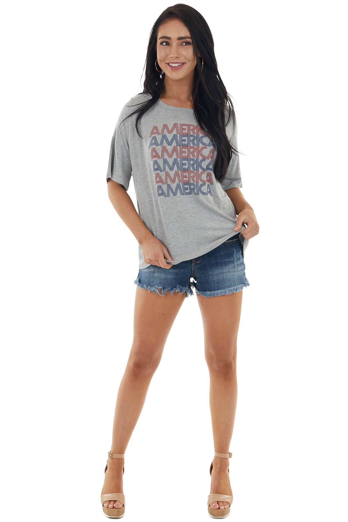 Heather Grey Short Sleeve Knit Top with 'America' Graphic