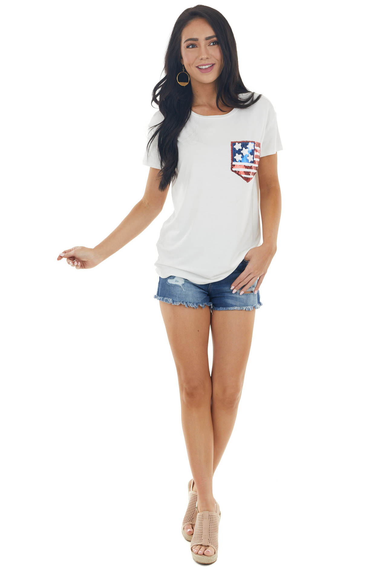 Ivory Short Sleeve Knit Top with American Flag Sequin Pocket