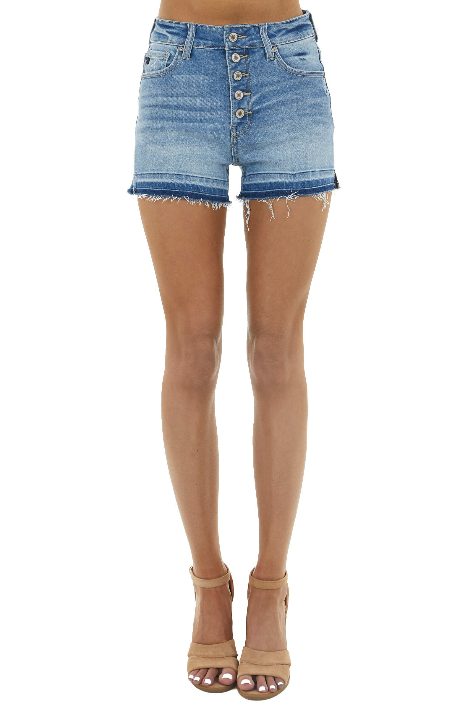 Medium Wash High Rise Button Up Shorts with Frayed Hemline