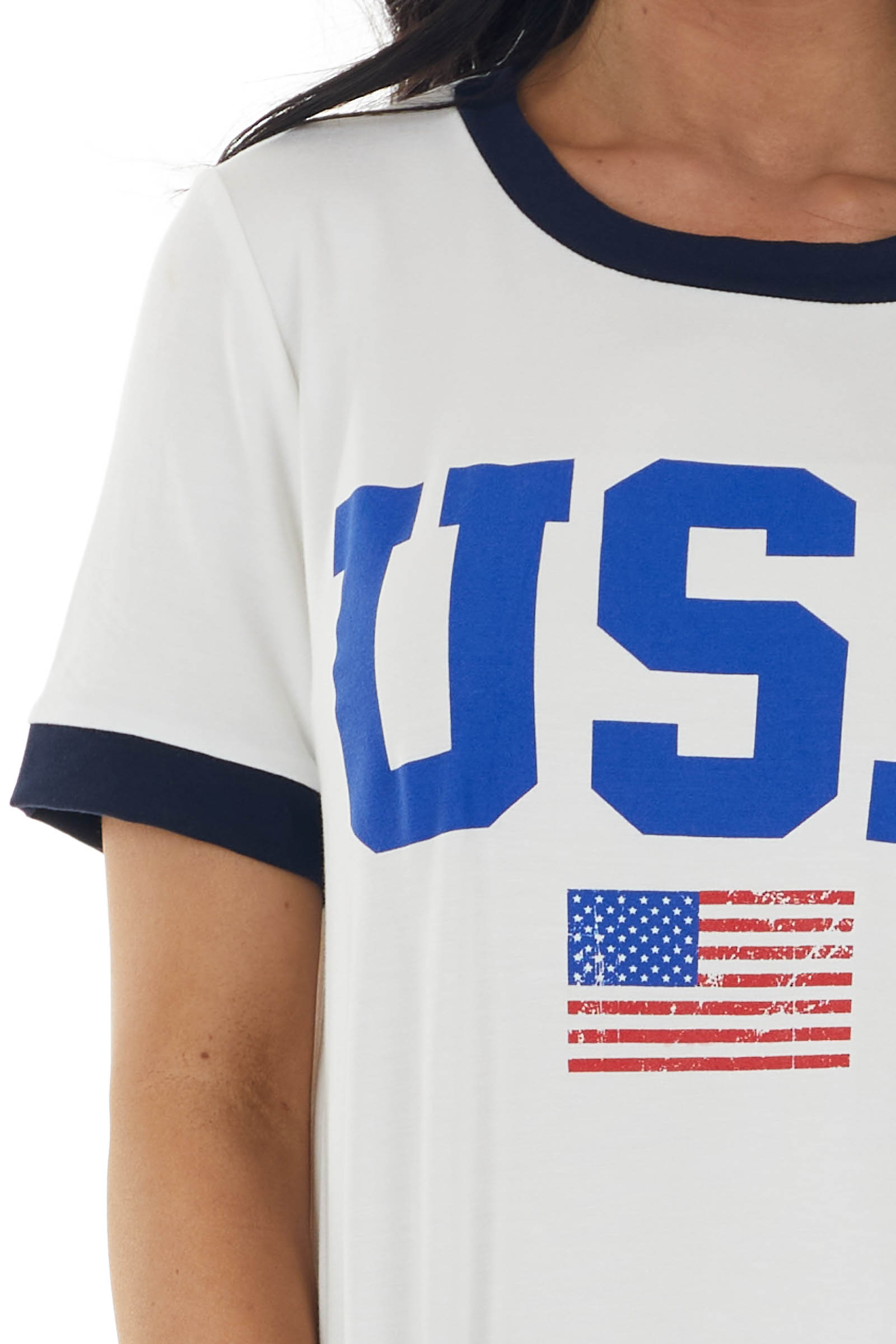Ivory Short Sleeve Top with 'USA' and American Flag Graphic