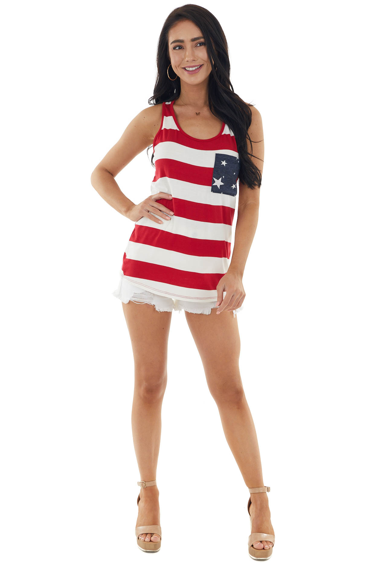 Crimson Red and White Stripe Print American Flag Tank Top