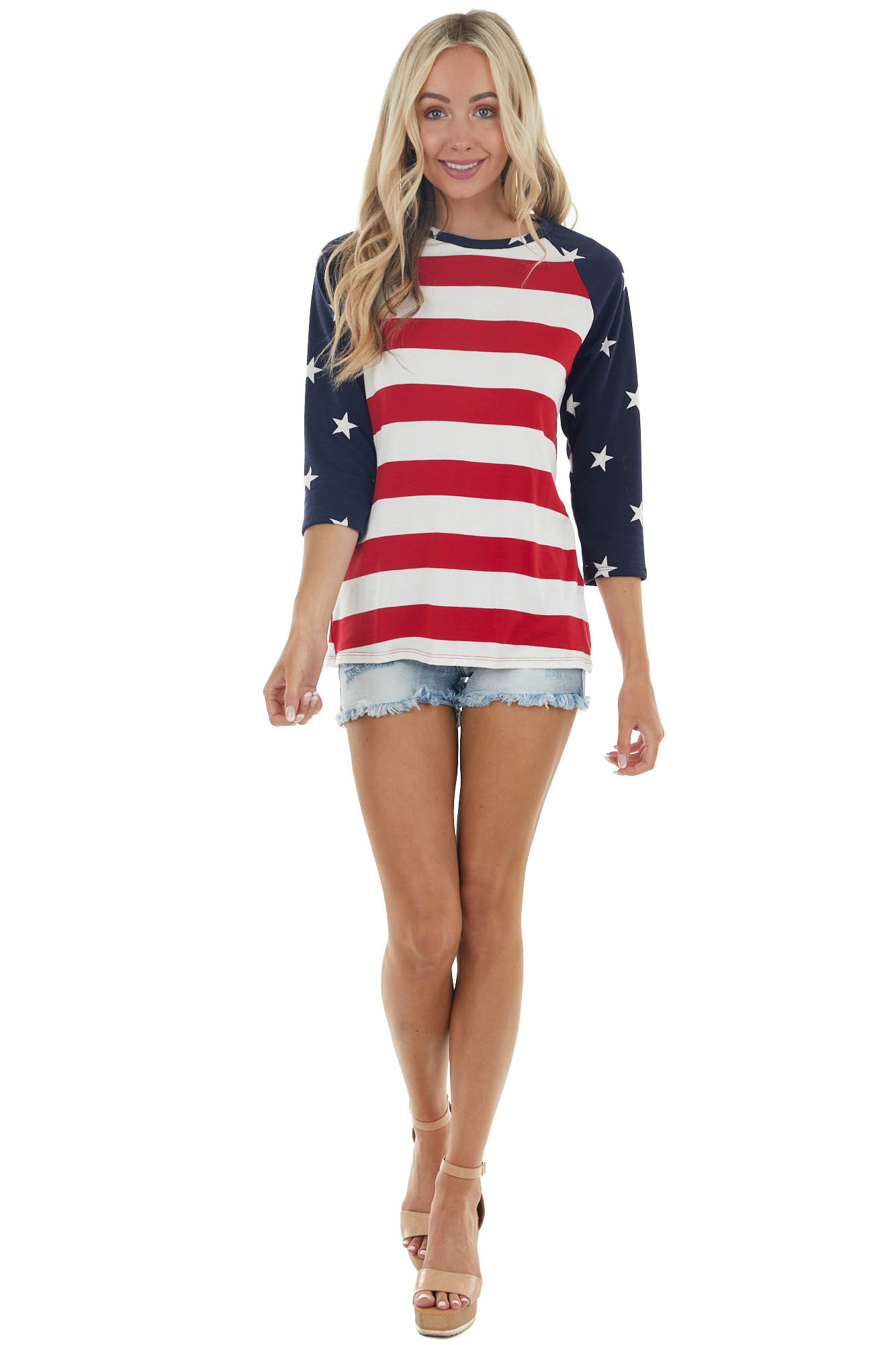 American Flag Print Raglan Knit Top with Rounded Neckline