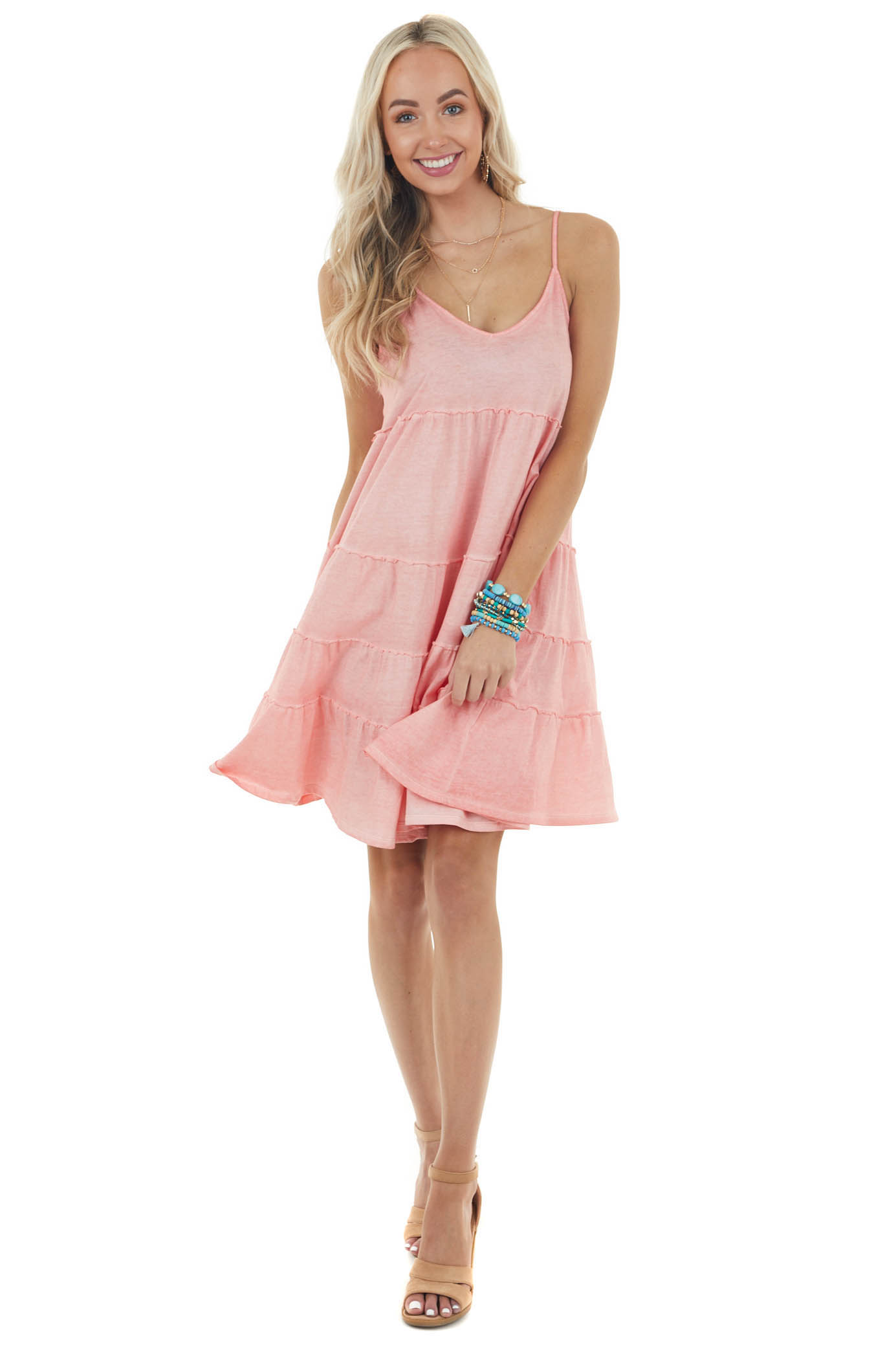 Vintage Coral Sleeveless Short Tiered Dress with V Neckline